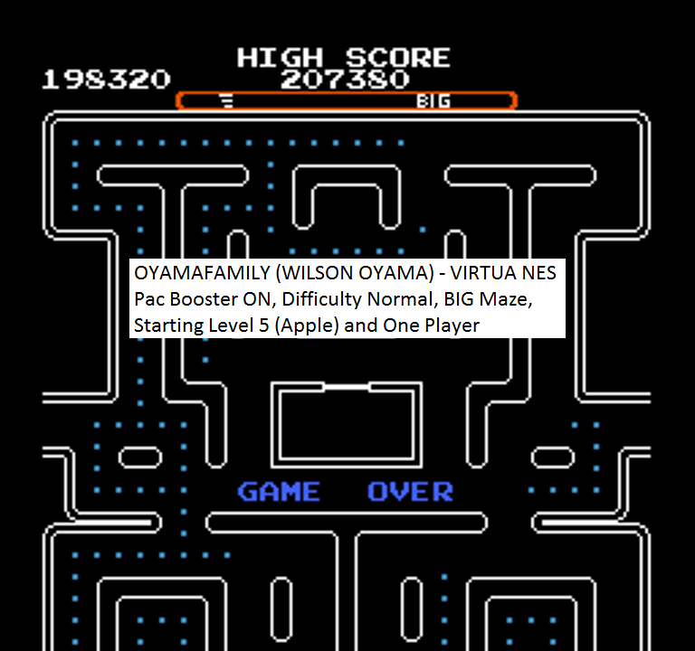 oyamafamily: Ms. Pac-Man [Tengen] [On/ Normal/ Big/ Level 5 Start] (NES/Famicom Emulated) 198,320 points on 2016-01-26 13:32:20