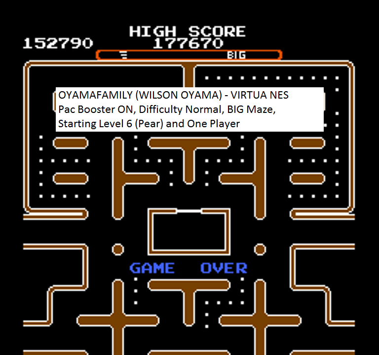 oyamafamily: Ms. Pac-Man [Tengen] [On/ Normal/ Big/ Level 6 Start] (NES/Famicom Emulated) 152,790 points on 2016-01-26 18:24:32