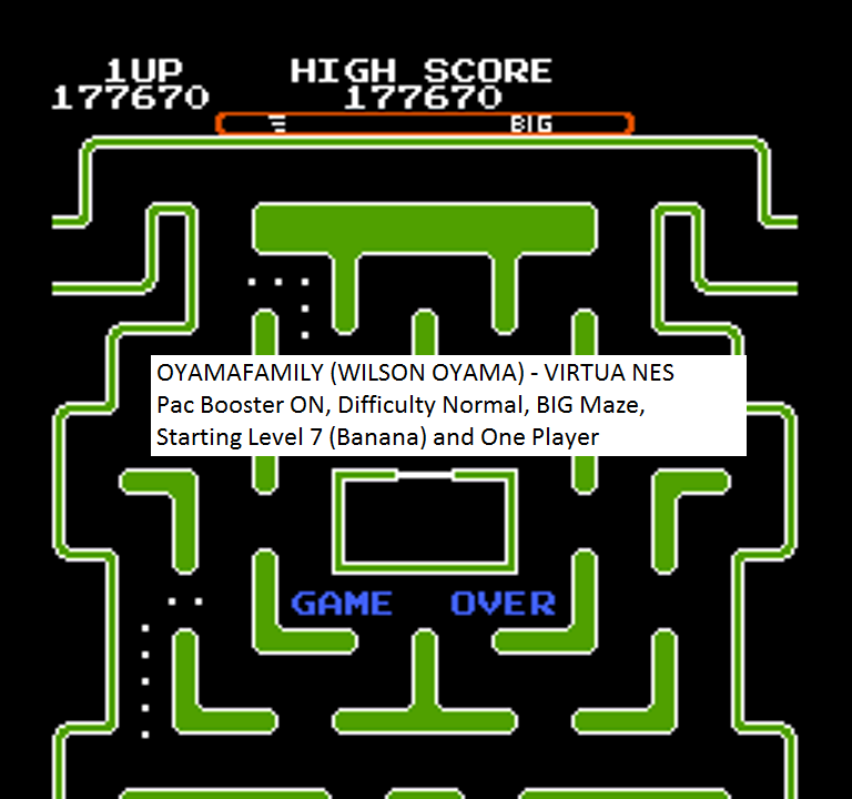 oyamafamily: Ms. Pac-Man [Tengen] [On/ Normal/ Big/ Level 7 Start] (NES/Famicom Emulated) 177,670 points on 2016-01-26 18:24:20