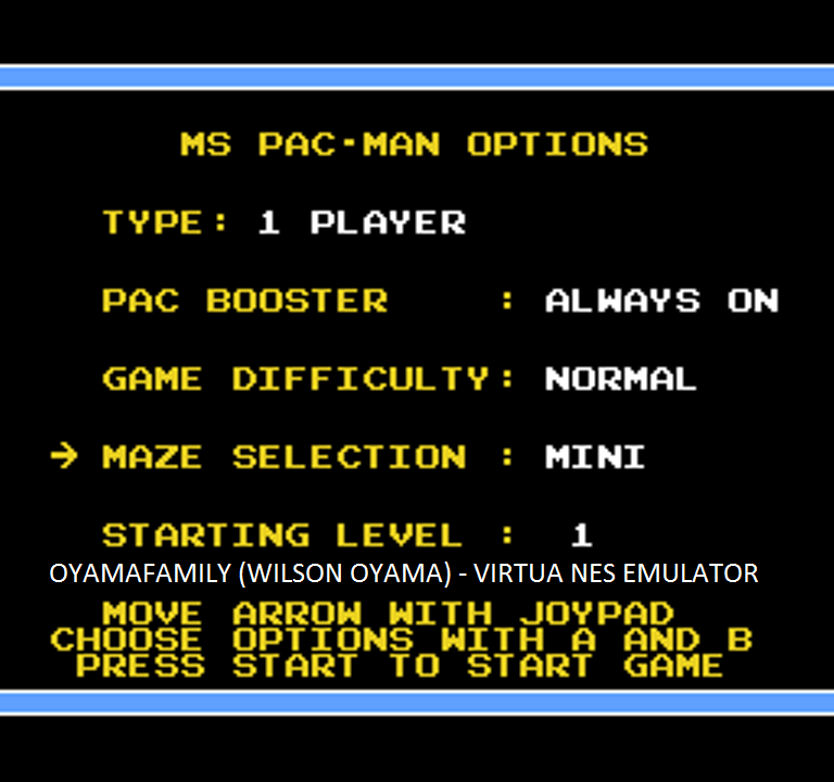 oyamafamily: Ms. Pac-Man [Tengen] [On/ Normal/ Mini/ Level 1 Start] (NES/Famicom Emulated) 1,000 points on 2016-03-06 04:36:54