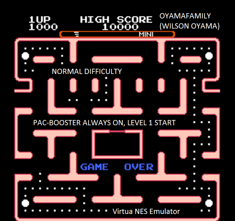 Ms. Pac-Man [Tengen] [On/ Normal/ Mini/ Level 1 Start] 1,000 points