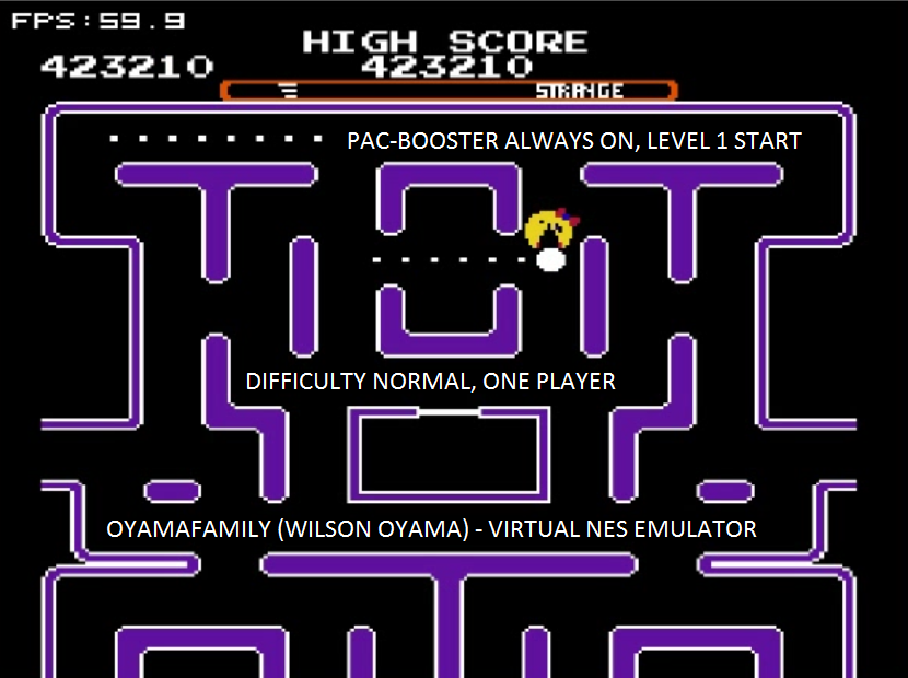 oyamafamily: Ms. Pac-Man [Tengen] [On/ Normal/ Strange/ Level 1 Start] (NES/Famicom Emulated) 423,210 points on 2016-01-15 16:41:39