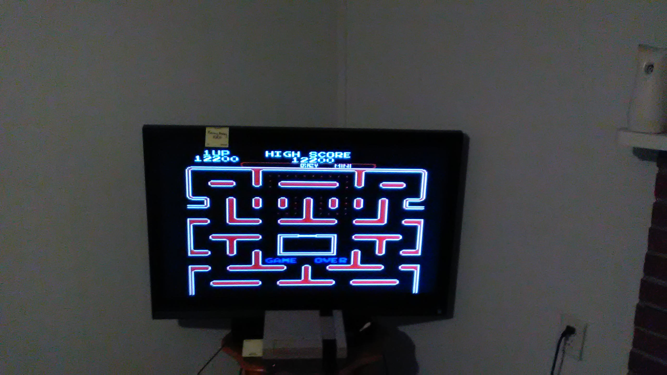 Ms. Pac-Man [Tengen] [Pac-Booster: OFF/Difficulty: Crazy/Maze Selection: Mini] 12,200 points