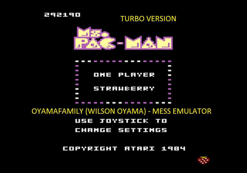 oyamafamily: Ms. Pac-Man [Turbo]: Strawberry Start (Atari 7800 Emulated) 292,190 points on 2016-04-16 20:10:44