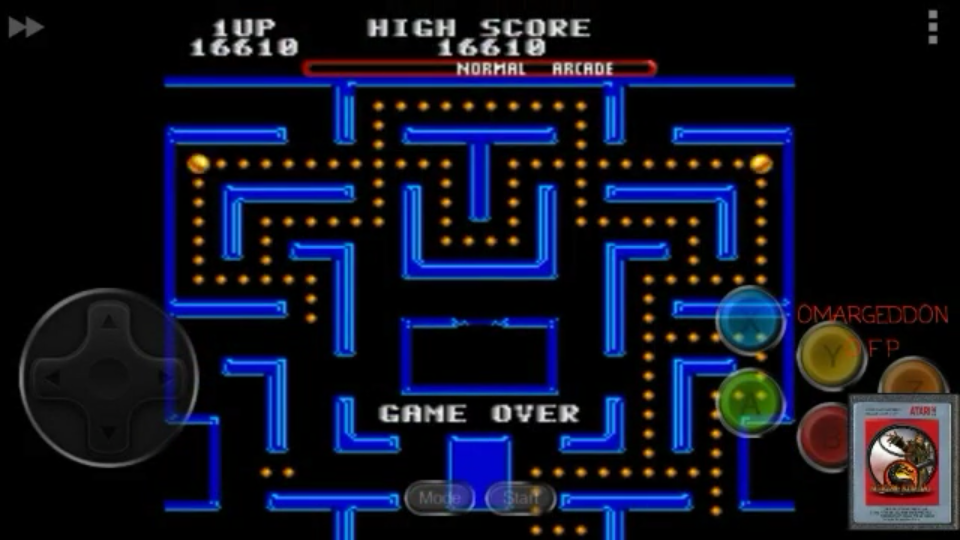 omargeddon: Ms. Pac Man [off/easy/arcade/level 1 start] (Sega Genesis / MegaDrive Emulated) 16,610 points on 2017-05-29 11:06:23