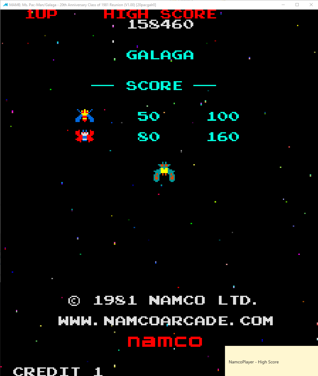 NamcoPlayer: Ms. Pacman/Galaga: Class of 1981: Galaga [20pacgal] (Arcade Emulated / M.A.M.E.) 158,460 points on 2020-11-02 20:30:14