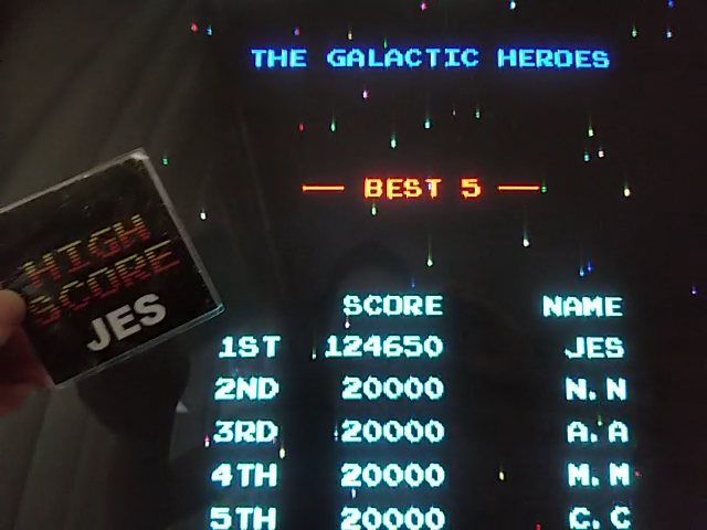JES: Ms. Pacman/Galaga: Class of 1981: Galaga [20pacgal] (Arcade Emulated / M.A.M.E.) 1,124,650 points on 2018-05-27 22:35:03