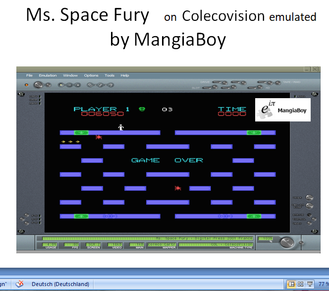 MangiaBoy: Ms. Space Fury (Colecovision Emulated) 6,050 points on 2019-01-01 13:39:47