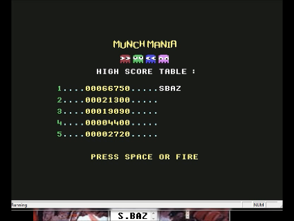 S.BAZ: Munch Mania (Commodore 64 Emulated) 66,750 points on 2016-05-29 23:57:40