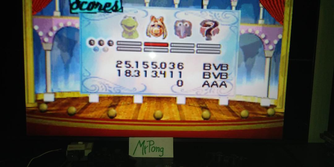 MrPong: Muppet Pinball Mayhem: Miss Piggy [3 Balls] (GBA Emulated) 25,155,036 points on 2019-04-21 13:39:27