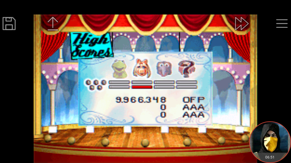omargeddon: Muppet Pinball Mayhem: Miss Piggy [5 Balls] (GBA Emulated) 9,966,348 points on 2018-04-29 23:53:28