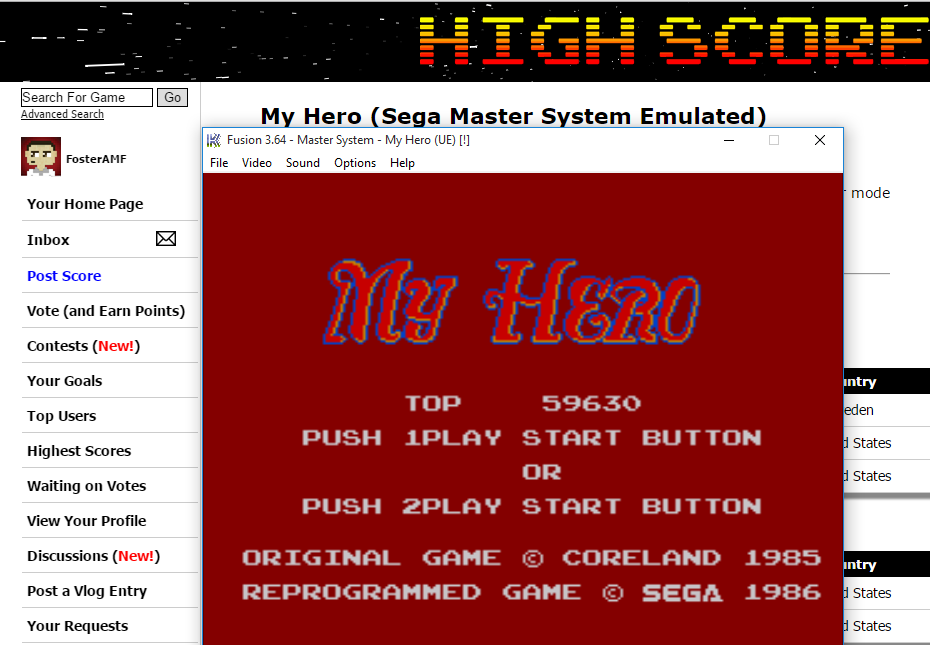 FosterAMF: My Hero (Sega Master System Emulated) 59,630 points on 2015-08-29 14:38:12