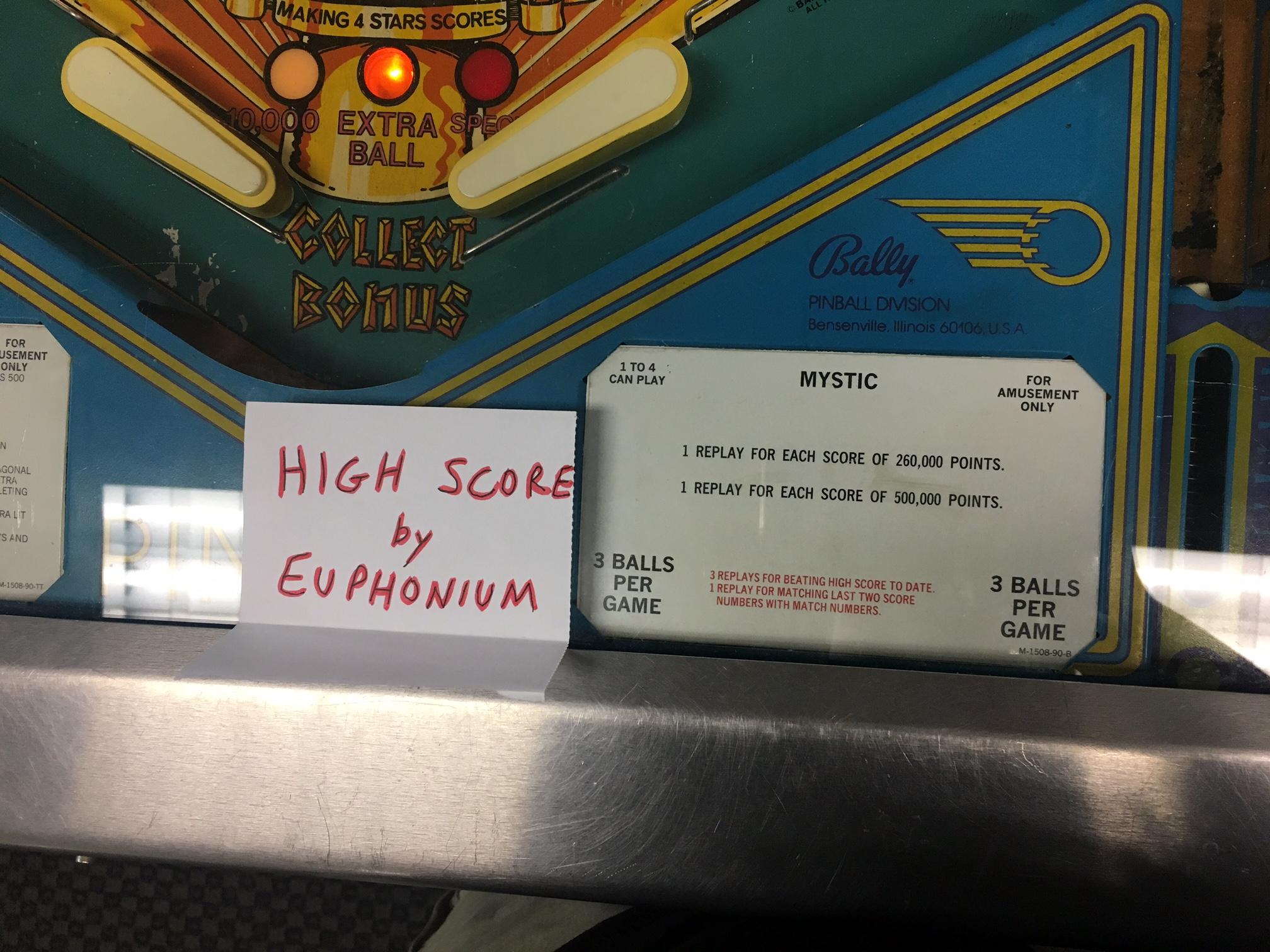 euphonium: Mystic [1980 Pinball] (Pinball: 3 Balls) 117,270 points on 2018-10-03 17:41:25
