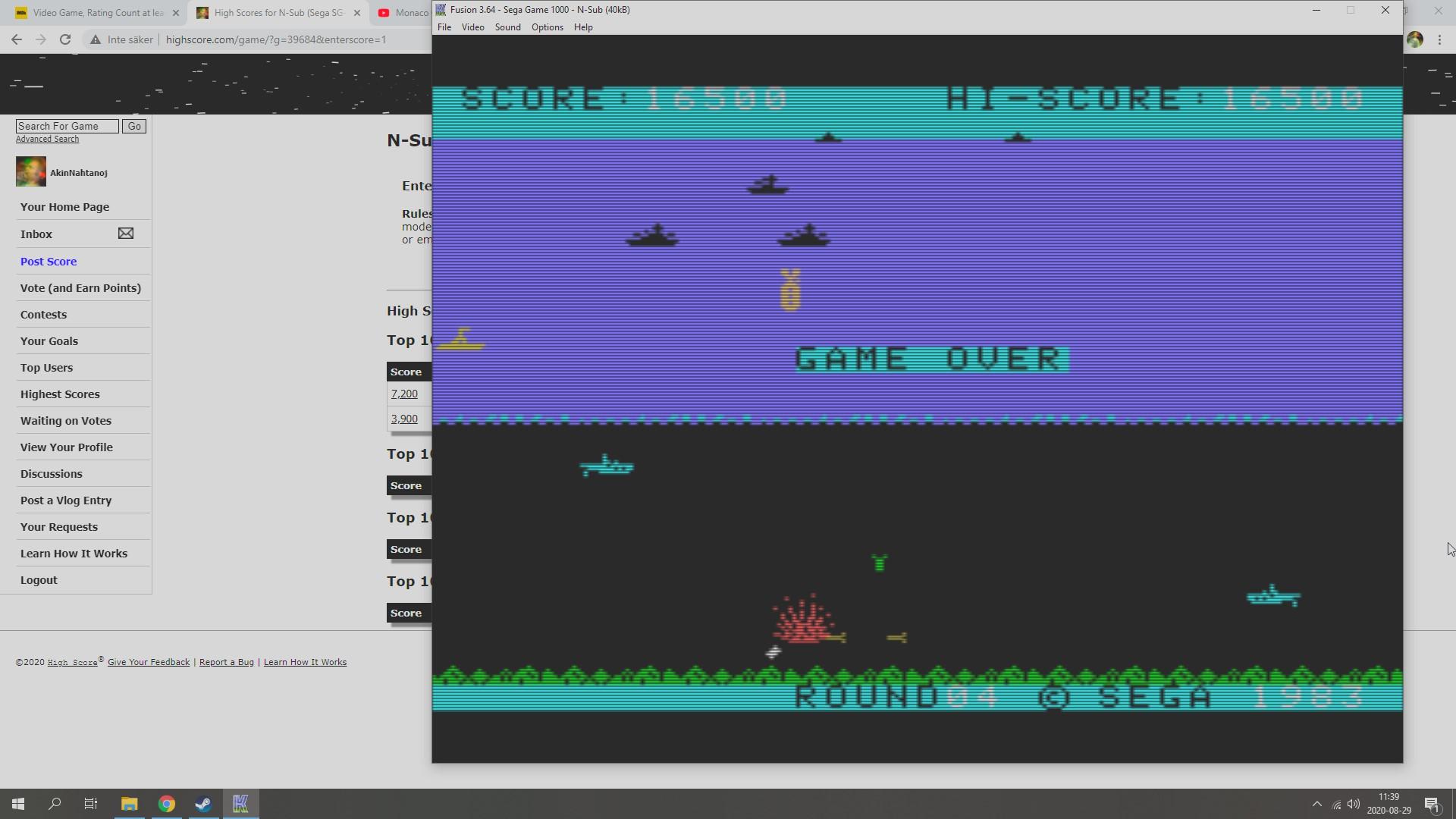 AkinNahtanoj: N-Sub (Sega SG-1000 Emulated) 16,500 points on 2020-08-29 05:01:01