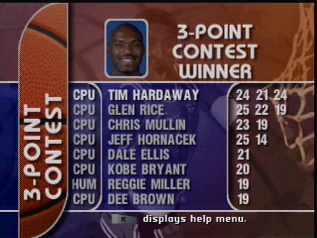 derek: NBA Court side 2 Featuring Kobe Bryant [3 point Contest] (N64) 19 points on 2016-04-22 17:26:04