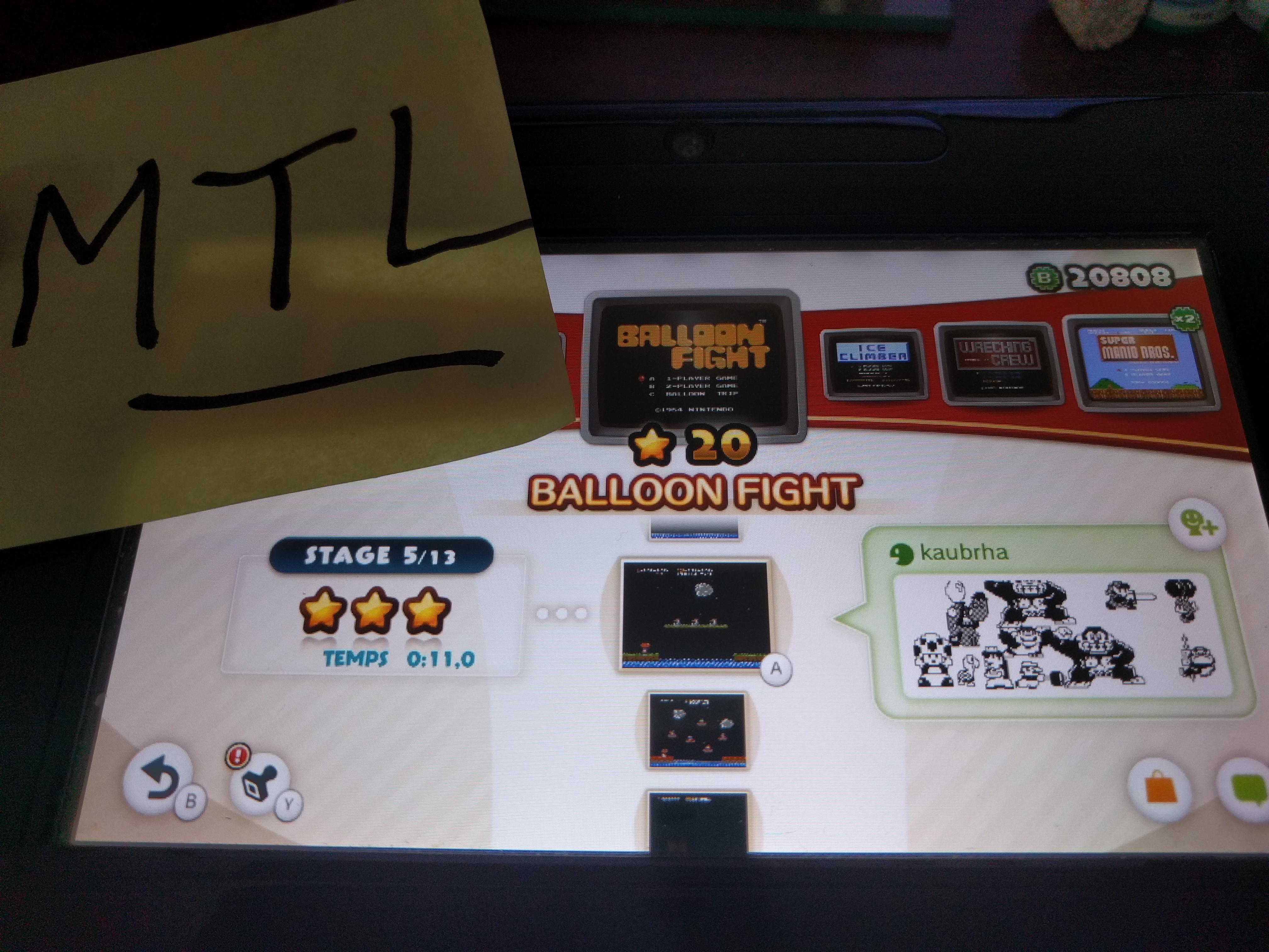 Mantalow: NES Remix: Balloon Fight: Stage 5 (Wii U) 0:00:11 points on 2016-06-08 02:32:53