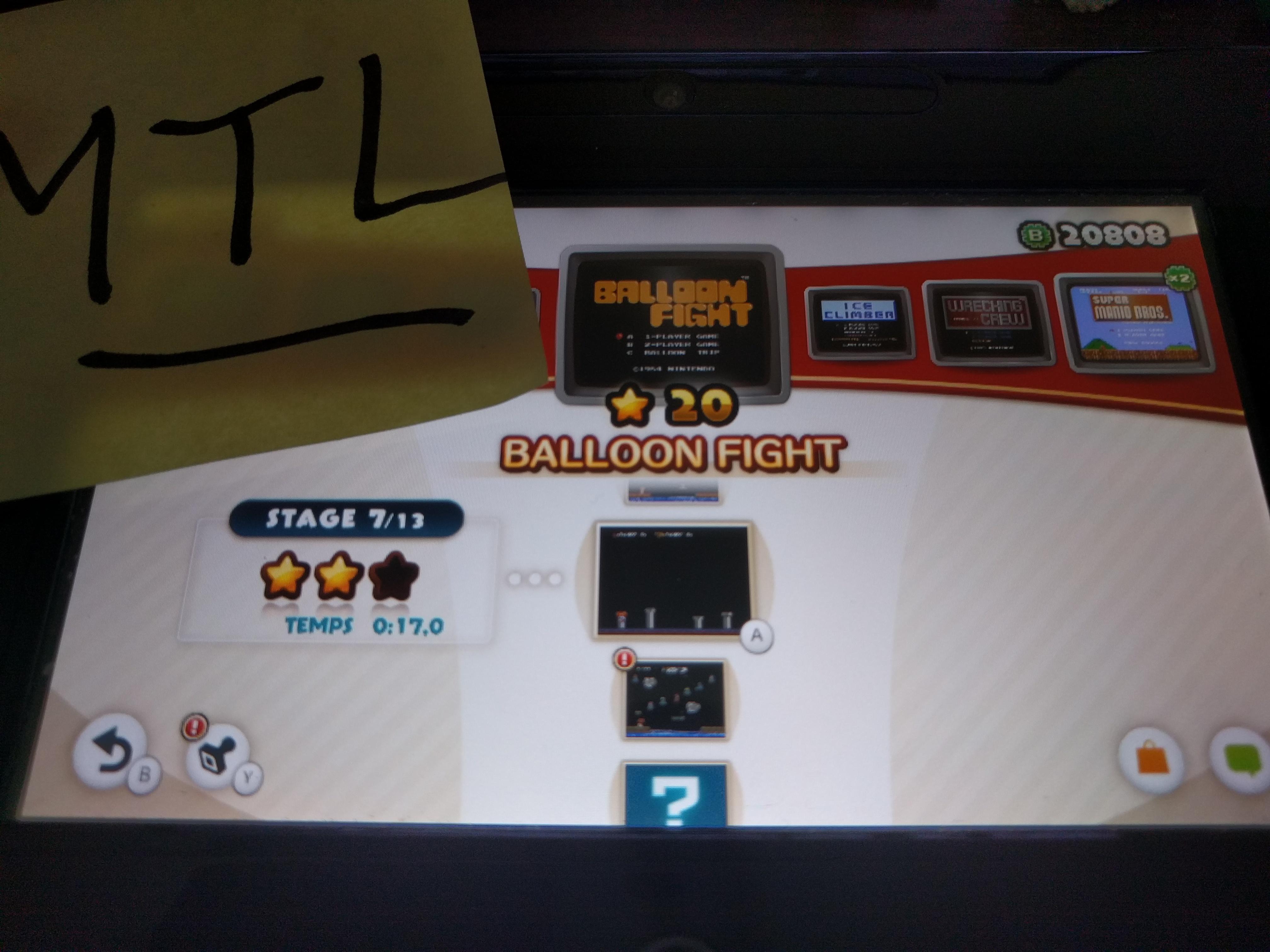 Mantalow: NES Remix: Balloon Fight: Stage 7 (Wii U) 0:00:17 points on 2016-06-08 02:33:56