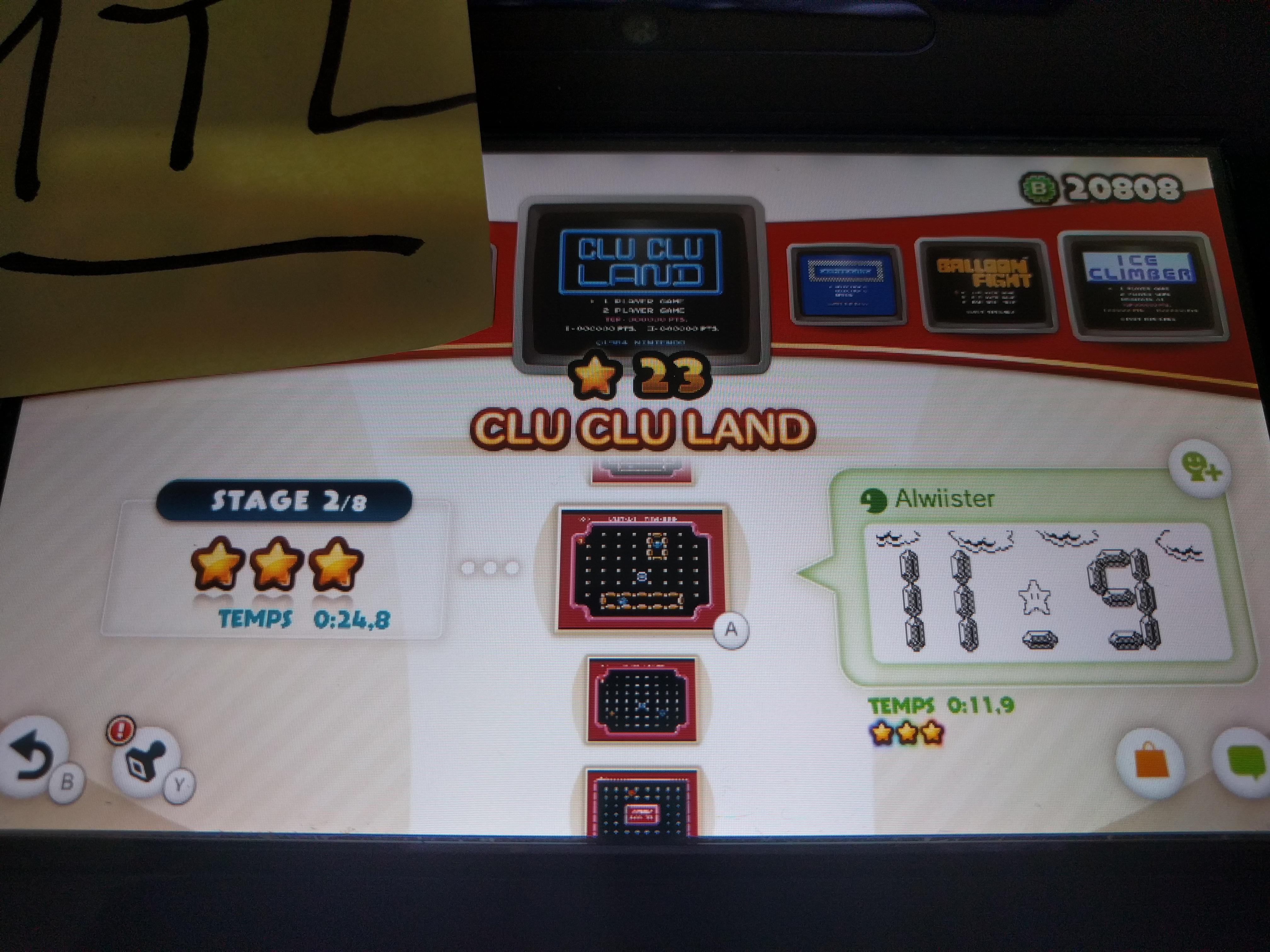 Mantalow: NES Remix: Clu Clu Land: Stage 2 (Wii U) 0:00:24.8 points on 2016-06-08 17:07:08