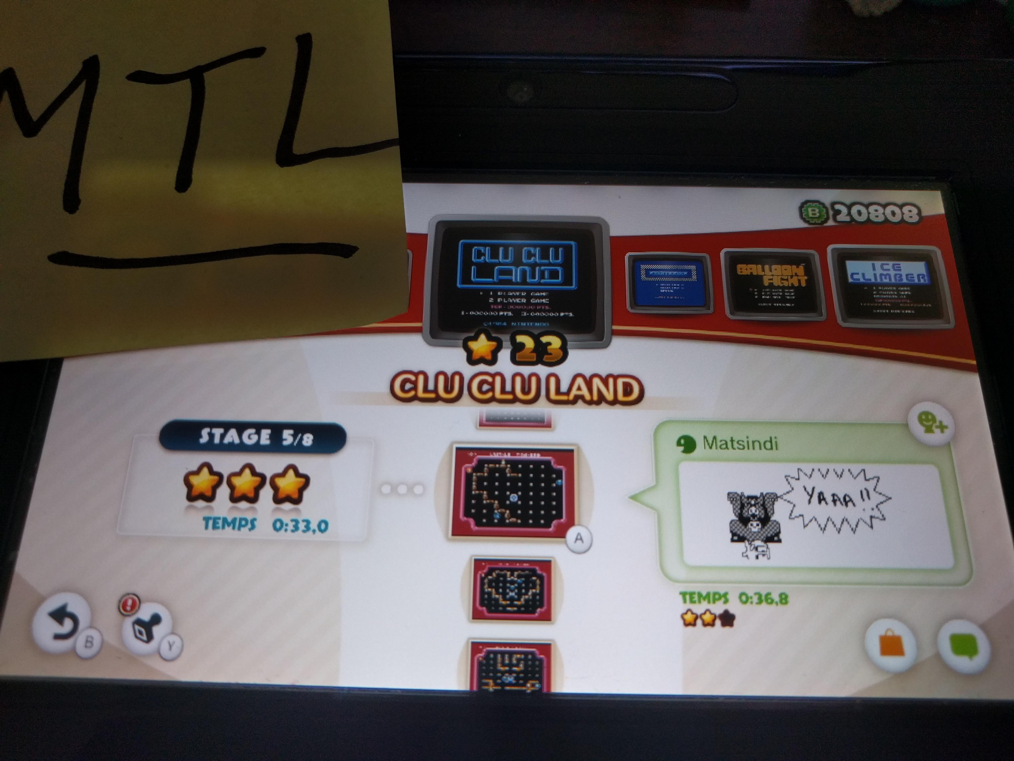 Mantalow: NES Remix: Clu Clu Land: Stage 5 (Wii U) 0:00:33 points on 2016-06-09 02:01:43
