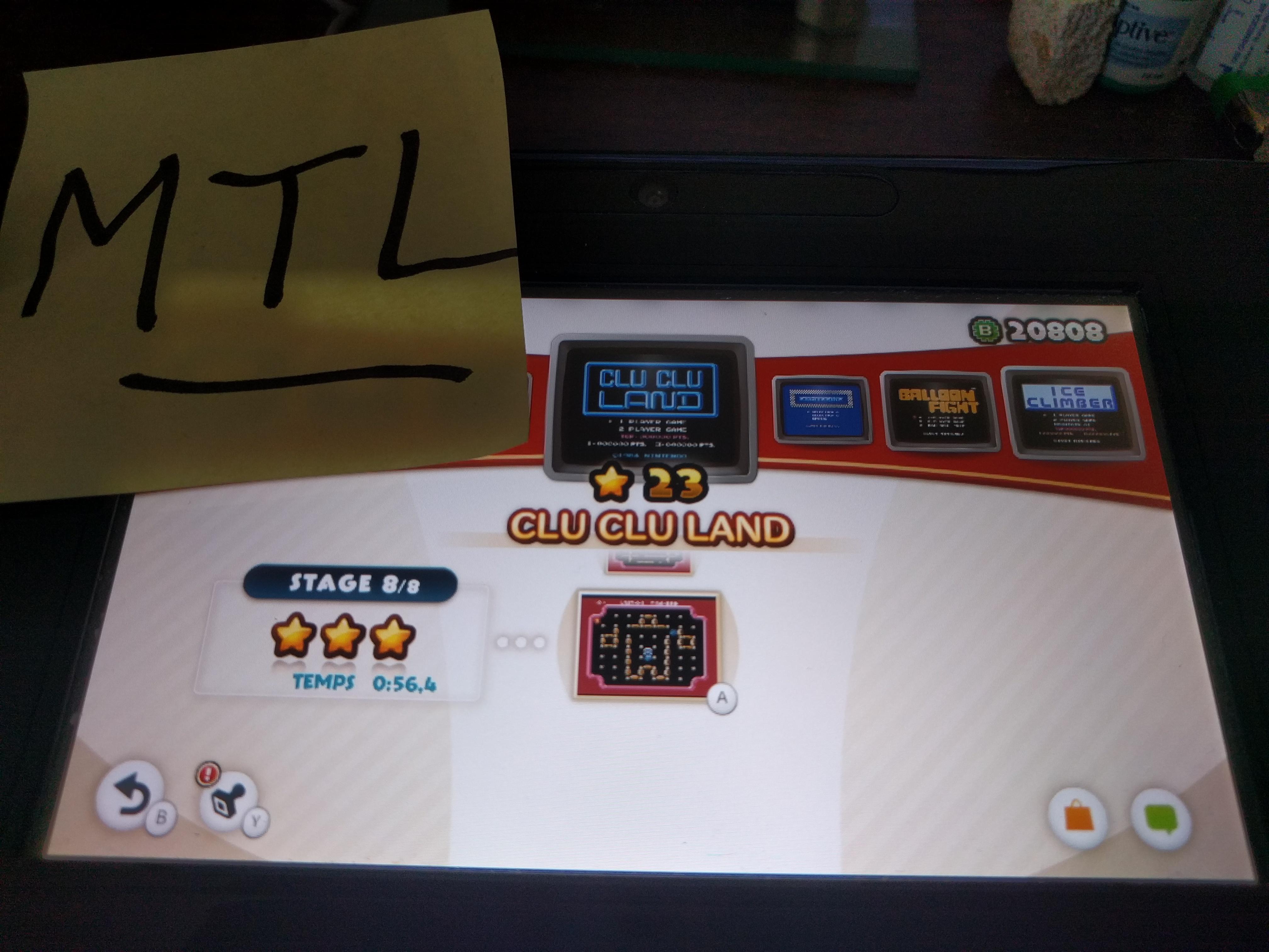 Mantalow: NES Remix: Clu Clu Land: Stage 8 (Wii U) 0:00:56.4 points on 2016-06-09 02:03:38