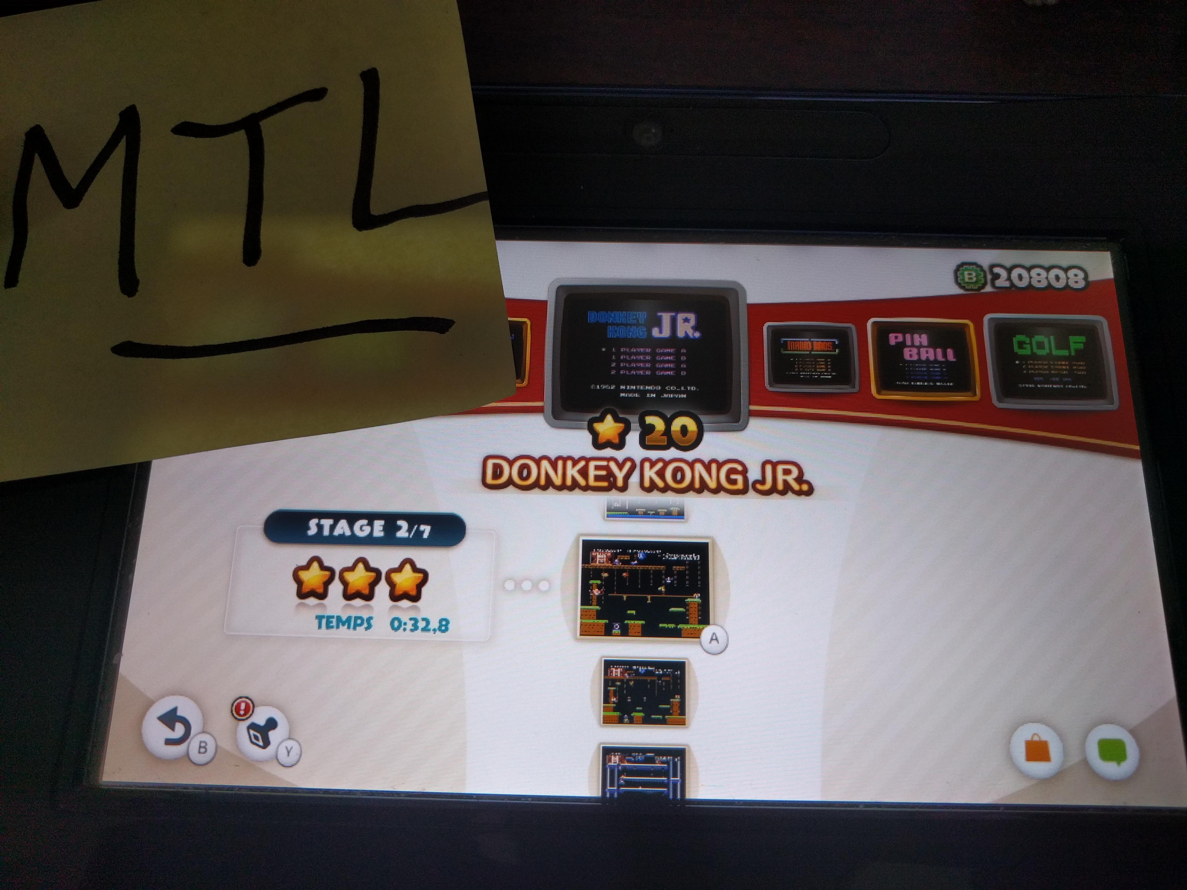 Mantalow: NES Remix: Donkey Kong JR: Stage 2 (Wii U) 0:00:32.8 points on 2016-06-06 16:37:48