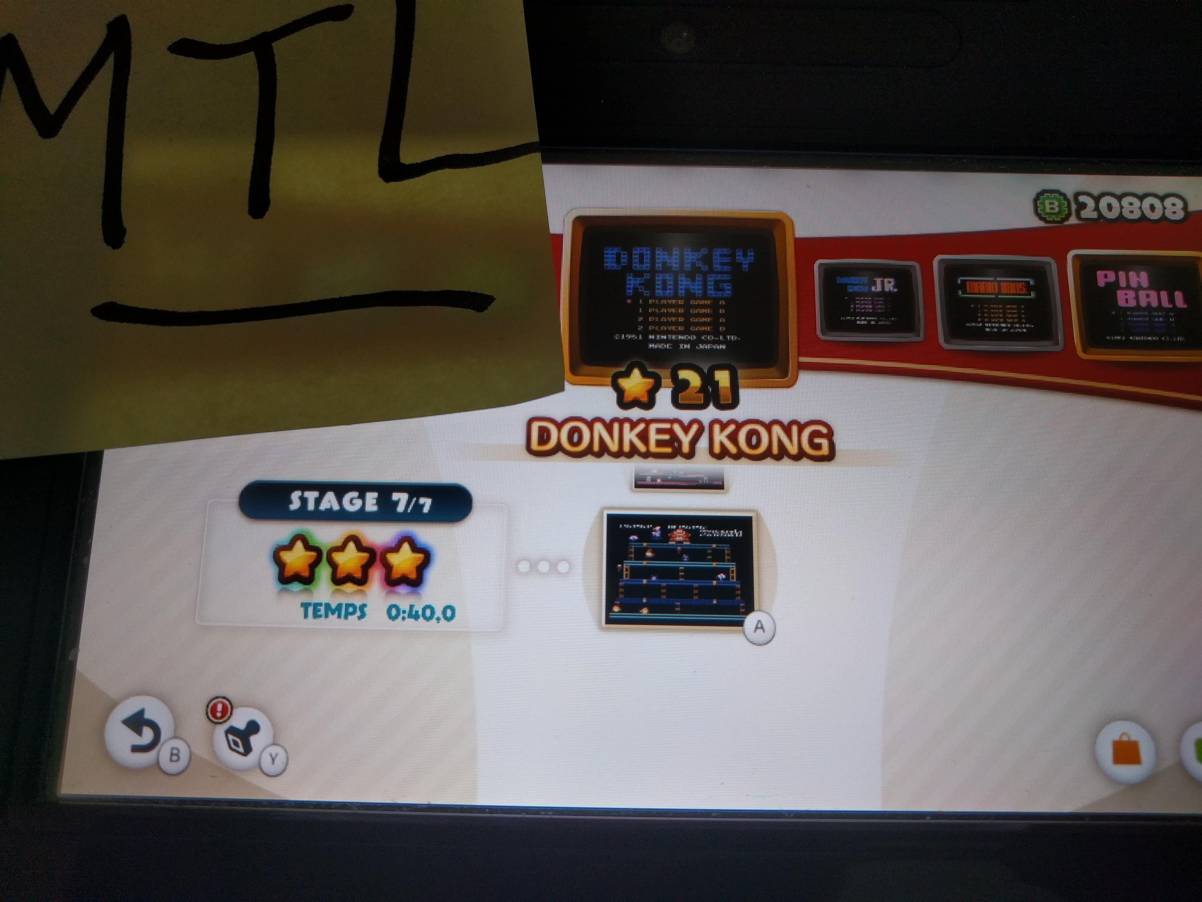Mantalow: NES Remix: Donkey Kong: Stage 7 (Wii U) 0:00:40 points on 2016-06-06 16:36:20