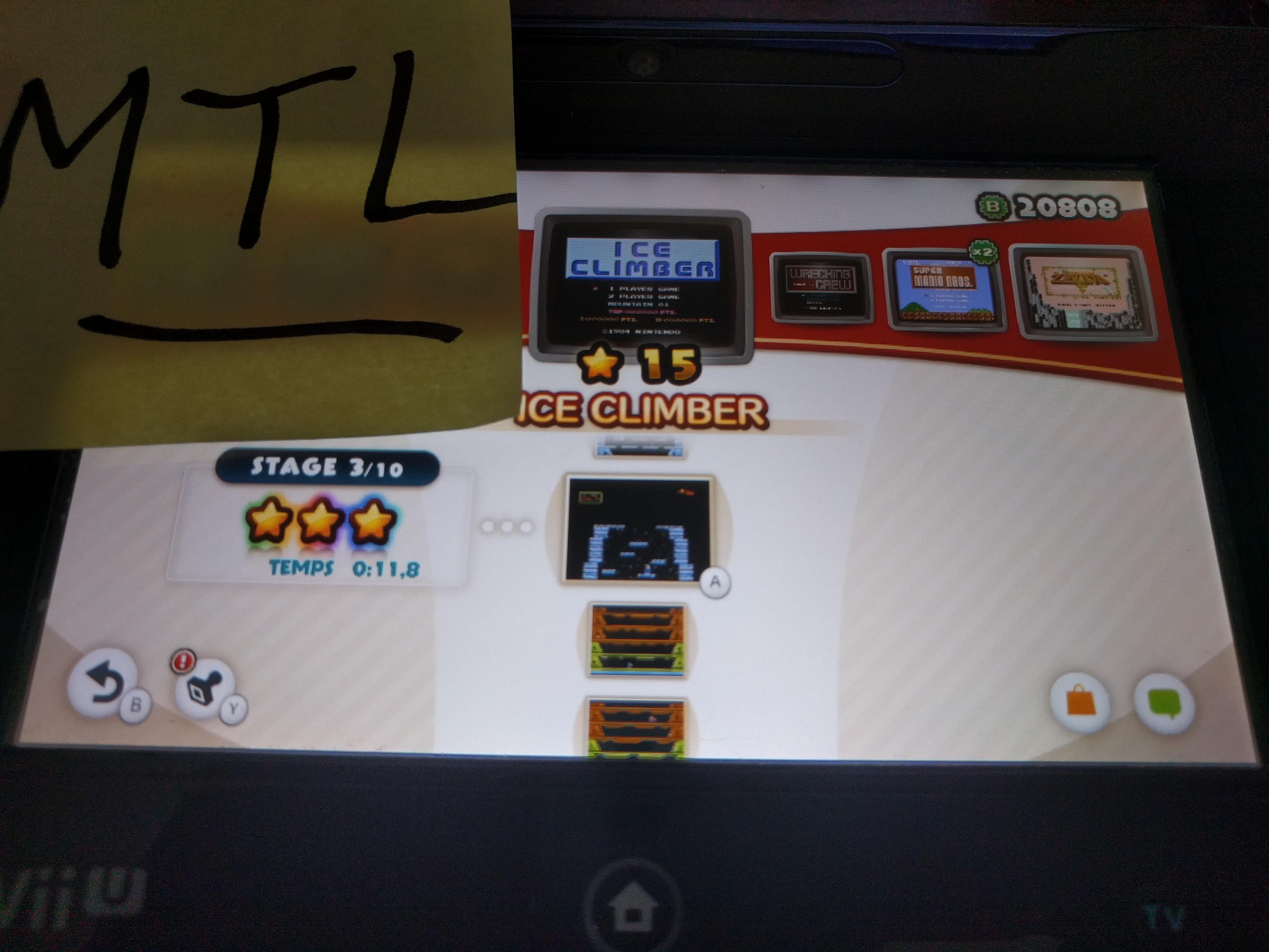 Mantalow: NES Remix: Ice Climber: Stage 3 (Wii U) 0:00:11.8 points on 2016-06-09 16:56:48