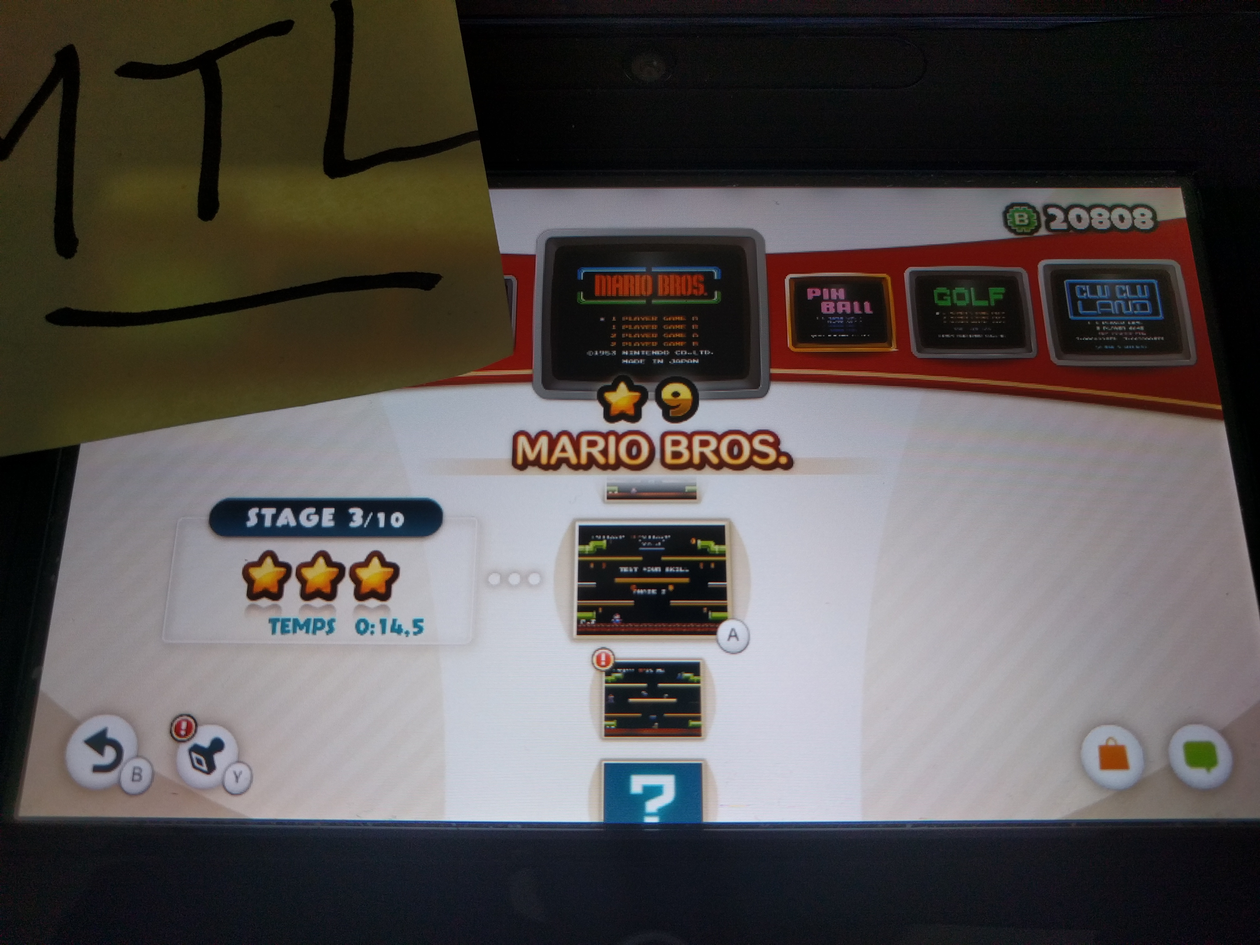 Mantalow: NES Remix: Mario Bros: Stage 3 (Wii U) 0:00:14.5 points on 2016-06-10 01:53:14