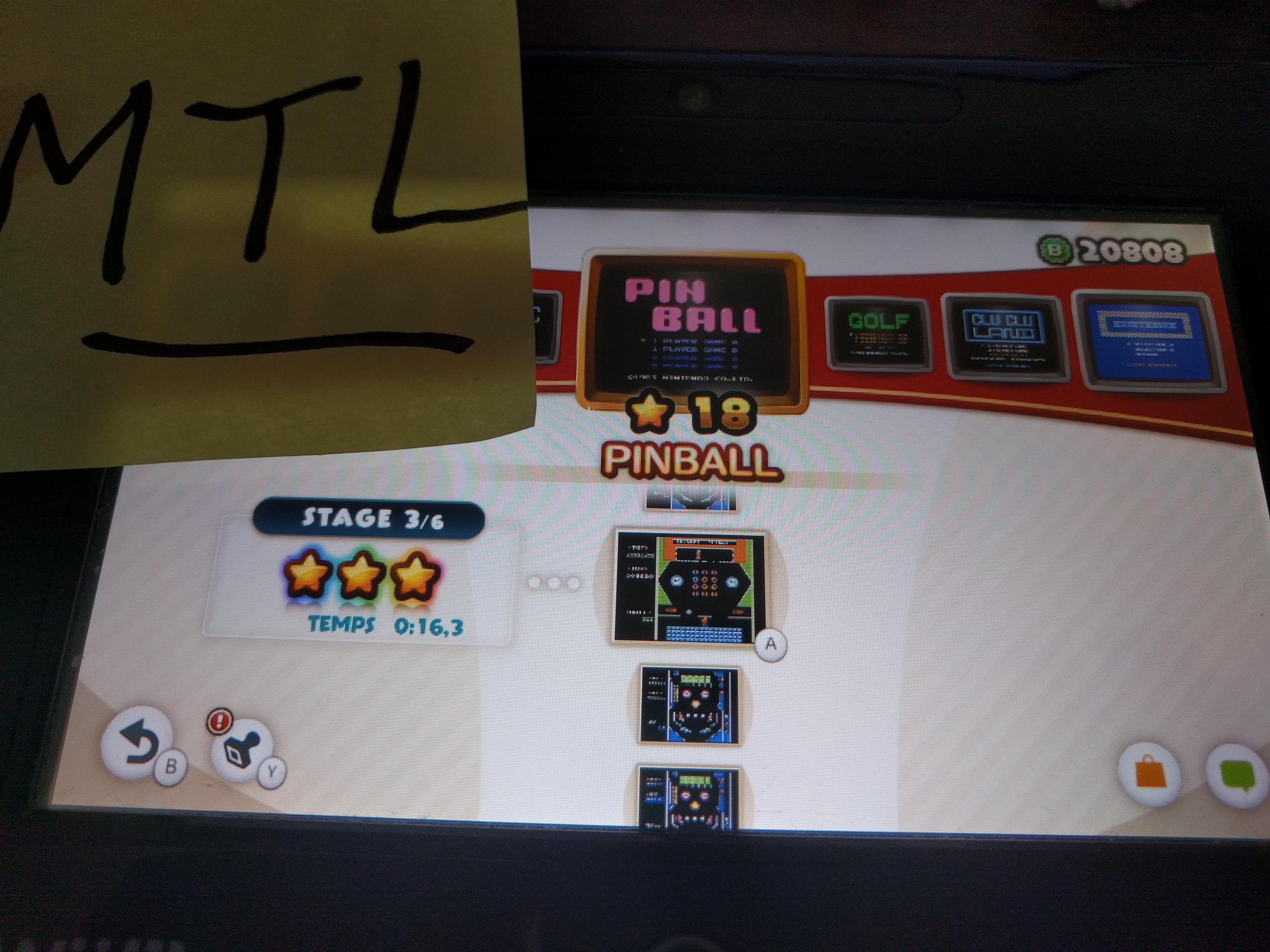 Mantalow: NES Remix: Pinball: Stage 3 (Wii U) 0:00:16.3 points on 2016-06-10 05:33:10