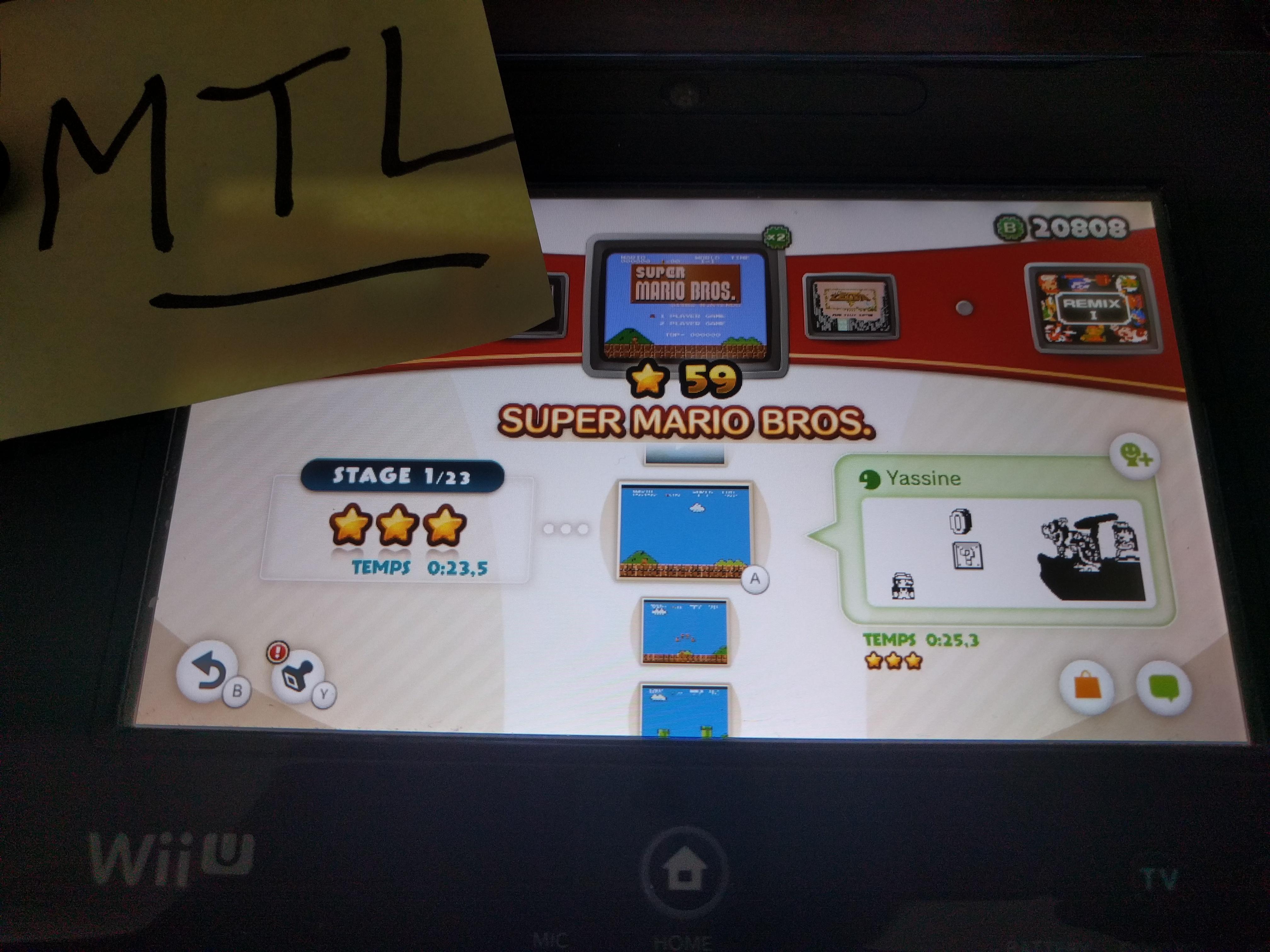 Mantalow: NES Remix: Super Mario Bros: Stage 1 (Wii U) 0:00:23.5 points on 2016-06-10 05:15:20