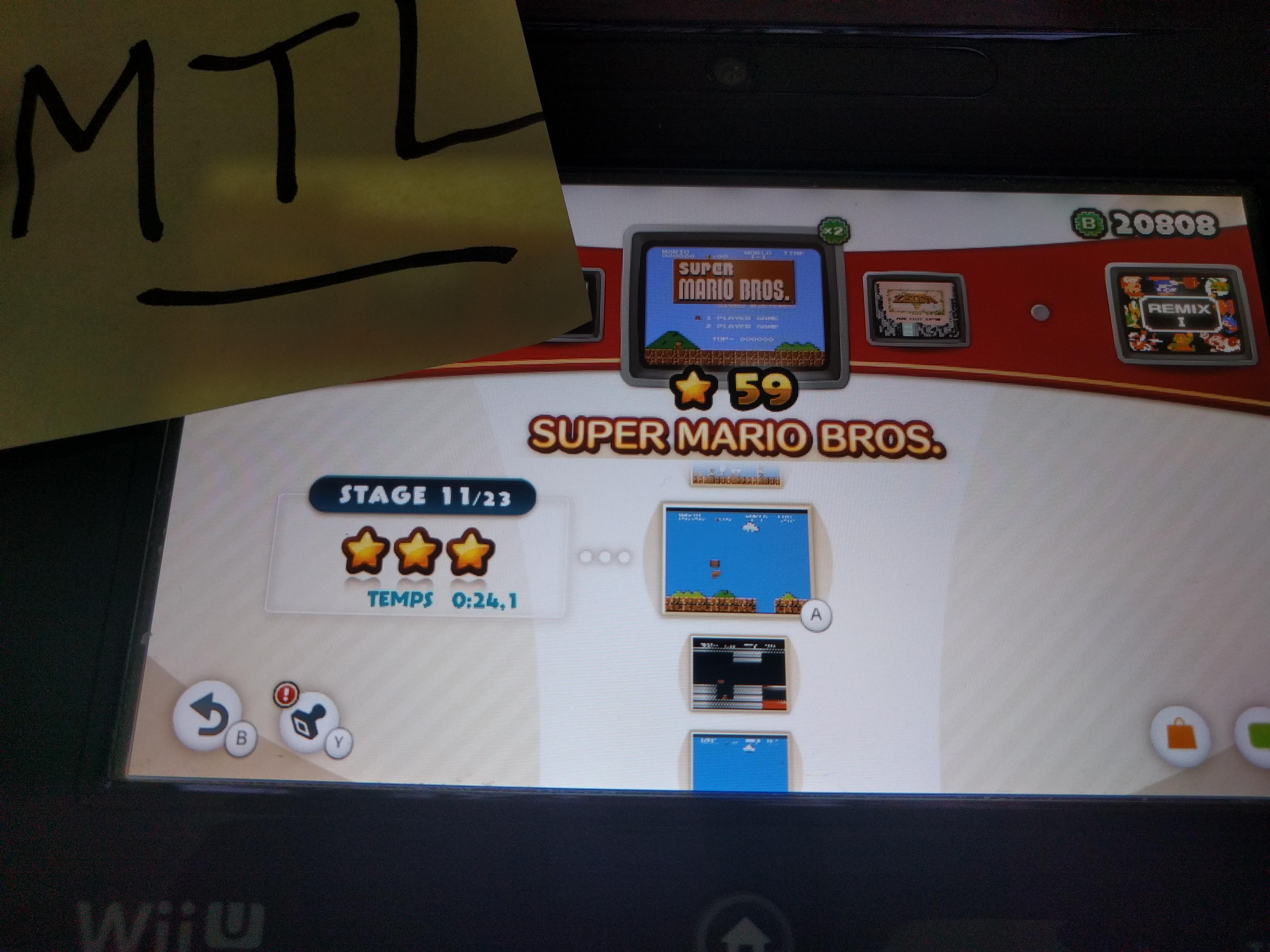 Mantalow: NES Remix: Super Mario Bros: Stage 11 (Wii U) 0:00:24.1 points on 2016-06-10 05:19:28