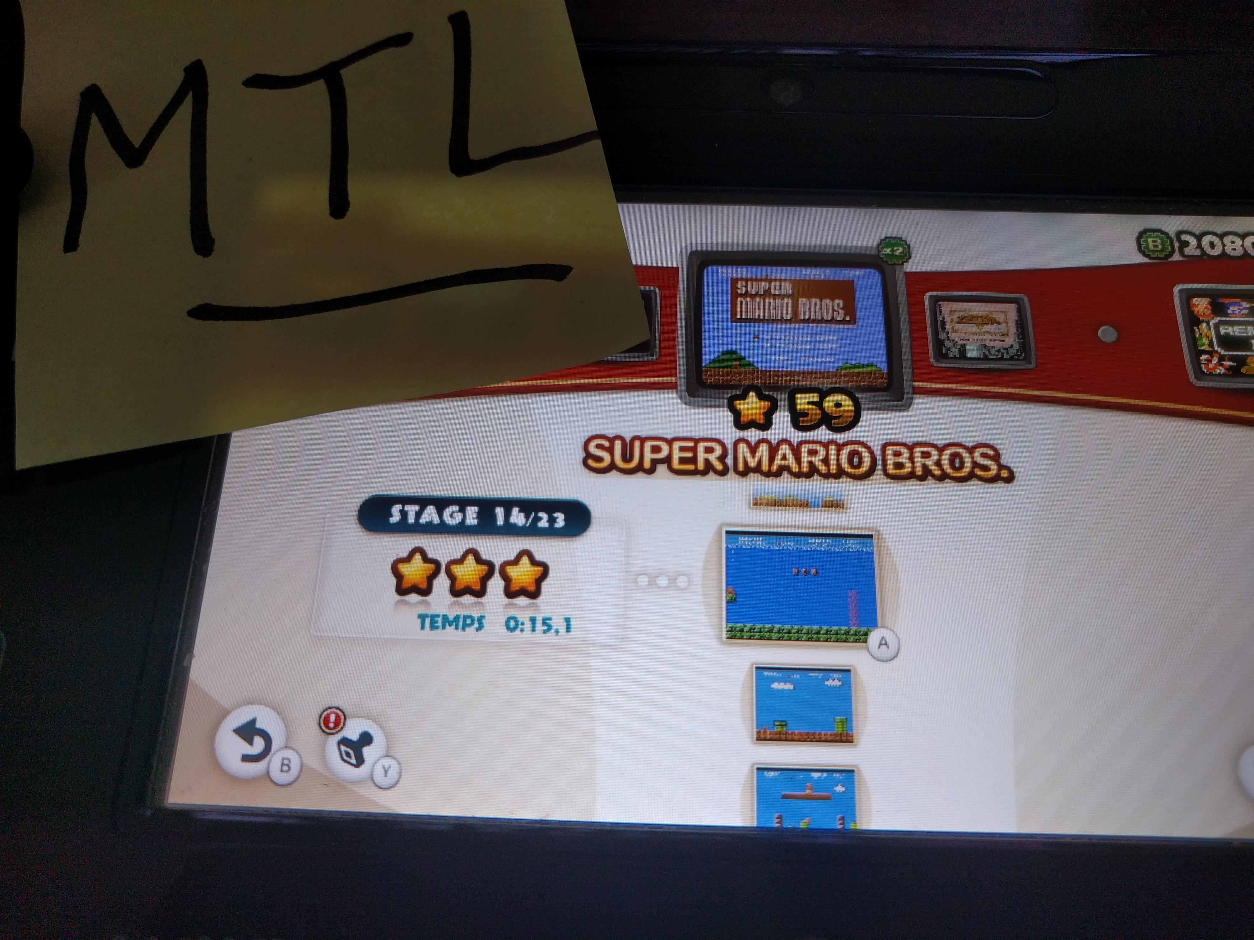 Mantalow: NES Remix: Super Mario Bros: Stage 14 (Wii U) 0:00:15.1 points on 2016-06-10 05:22:39