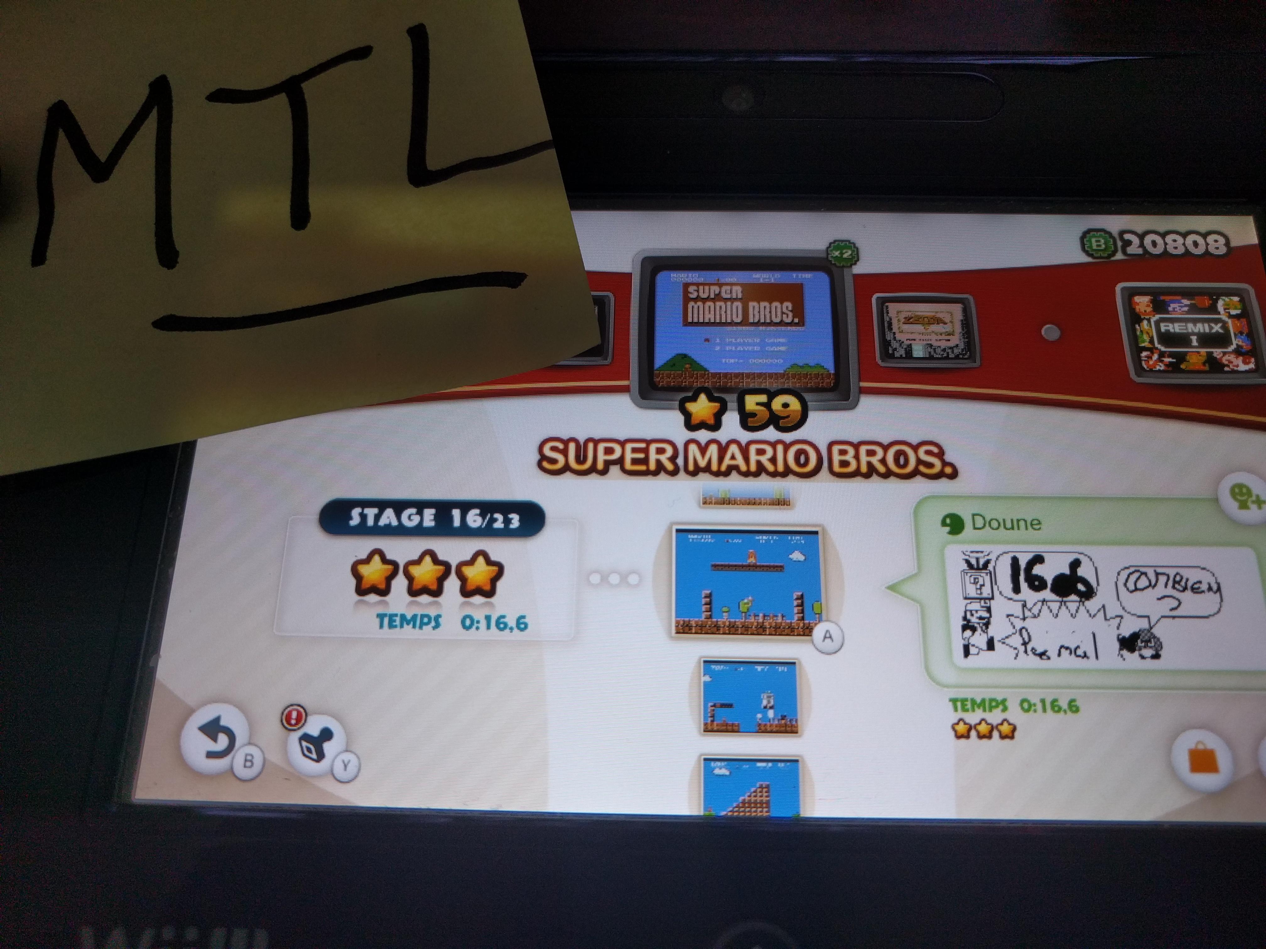 Mantalow: NES Remix: Super Mario Bros: Stage 16 (Wii U) 0:00:16.6 points on 2016-06-10 05:23:49