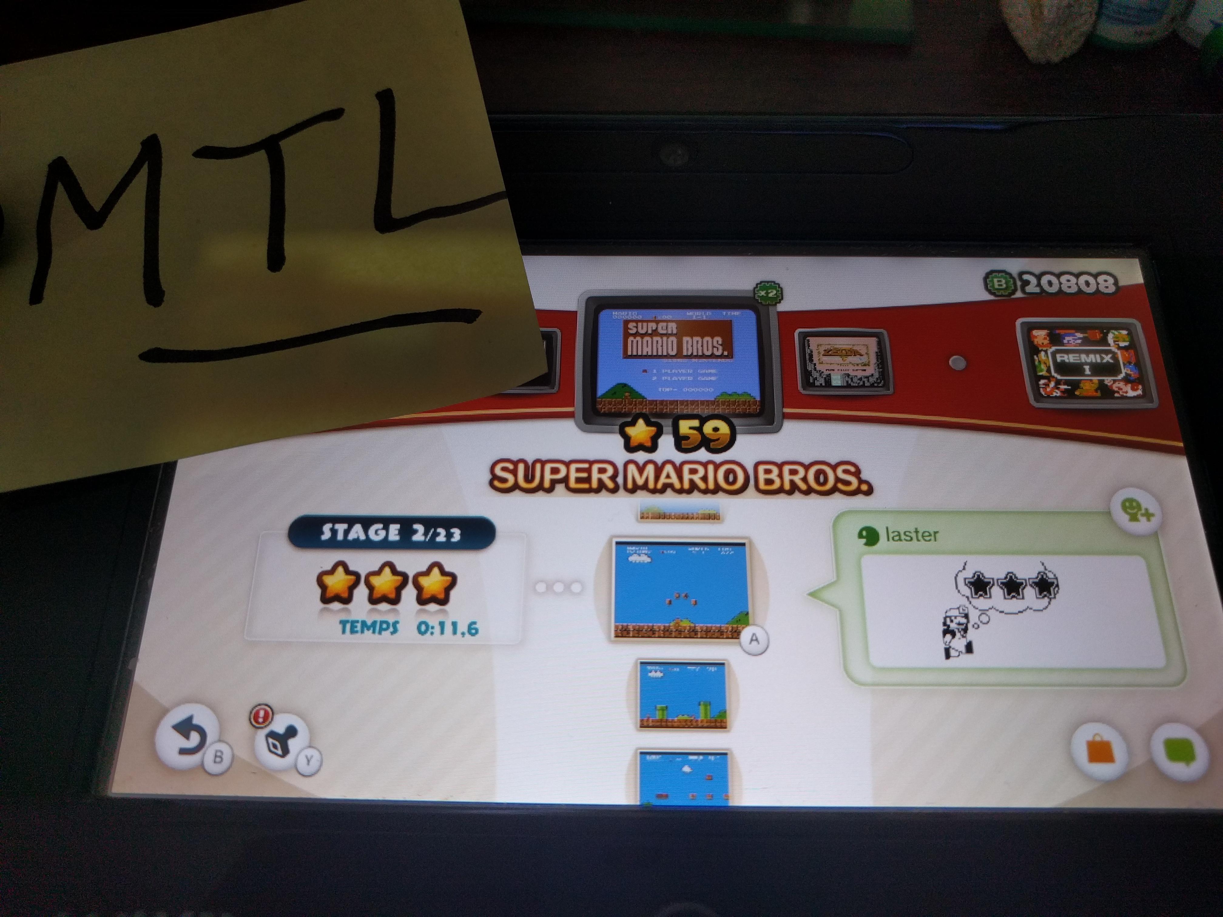 Mantalow: NES Remix: Super Mario Bros: Stage 2 (Wii U) 0:00:11.6 points on 2016-06-10 05:15:50