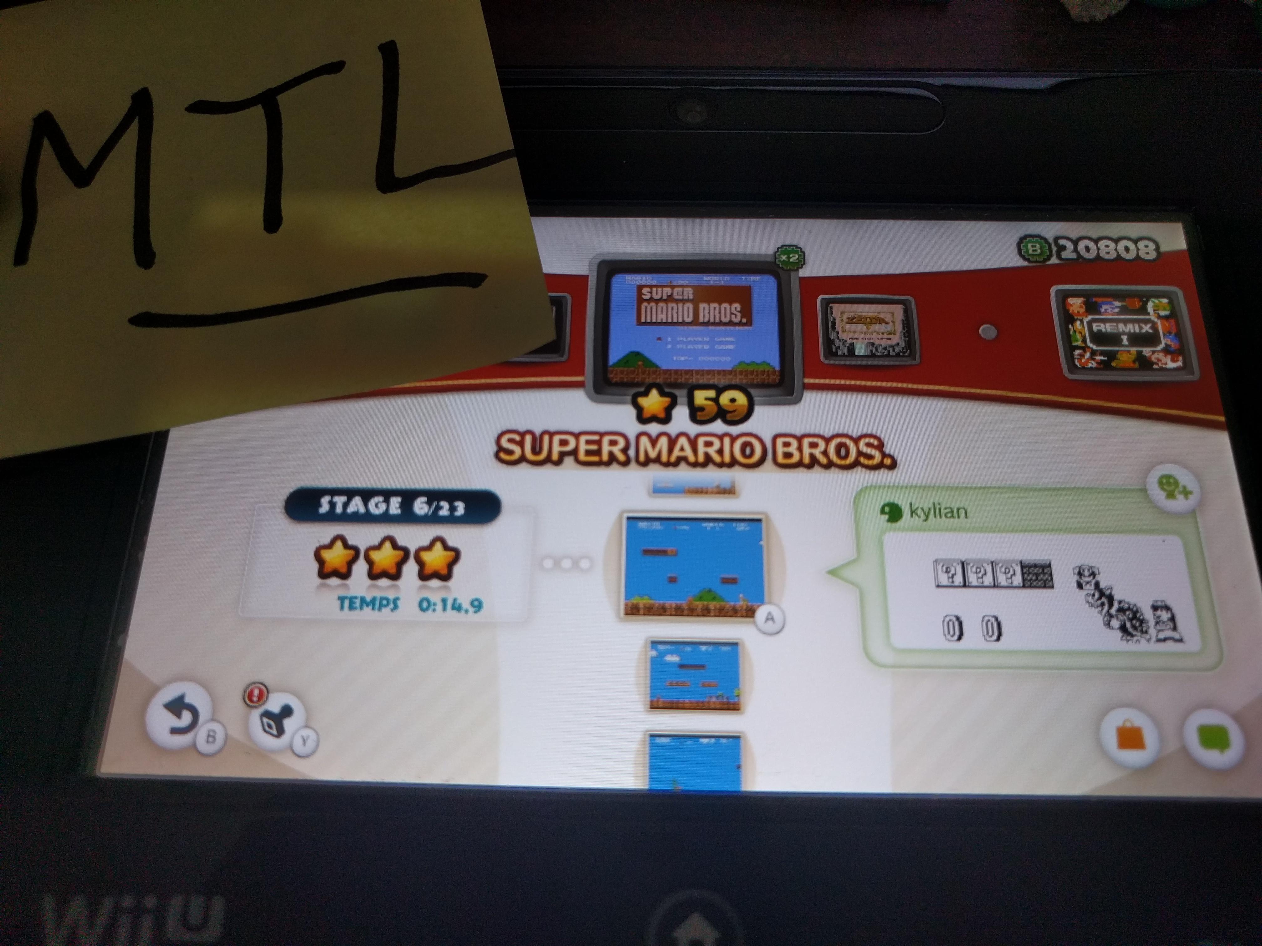 Mantalow: NES Remix: Super Mario Bros: Stage 6 (Wii U) 0:00:14.9 points on 2016-06-10 05:17:29