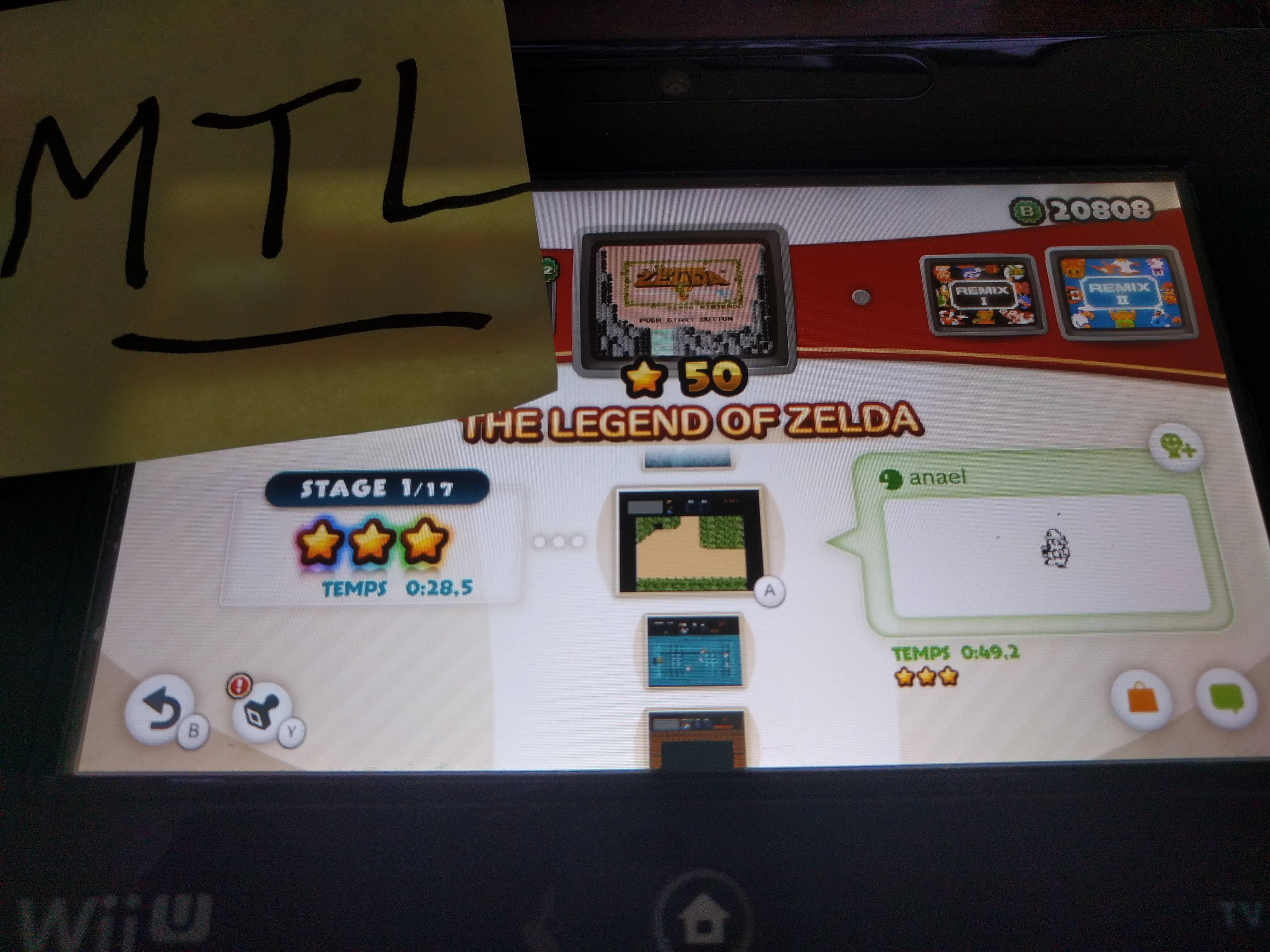 Mantalow: NES Remix: The Legend of Zelda: Stage 1 (Wii U) 0:00:28.5 points on 2016-06-10 05:42:37