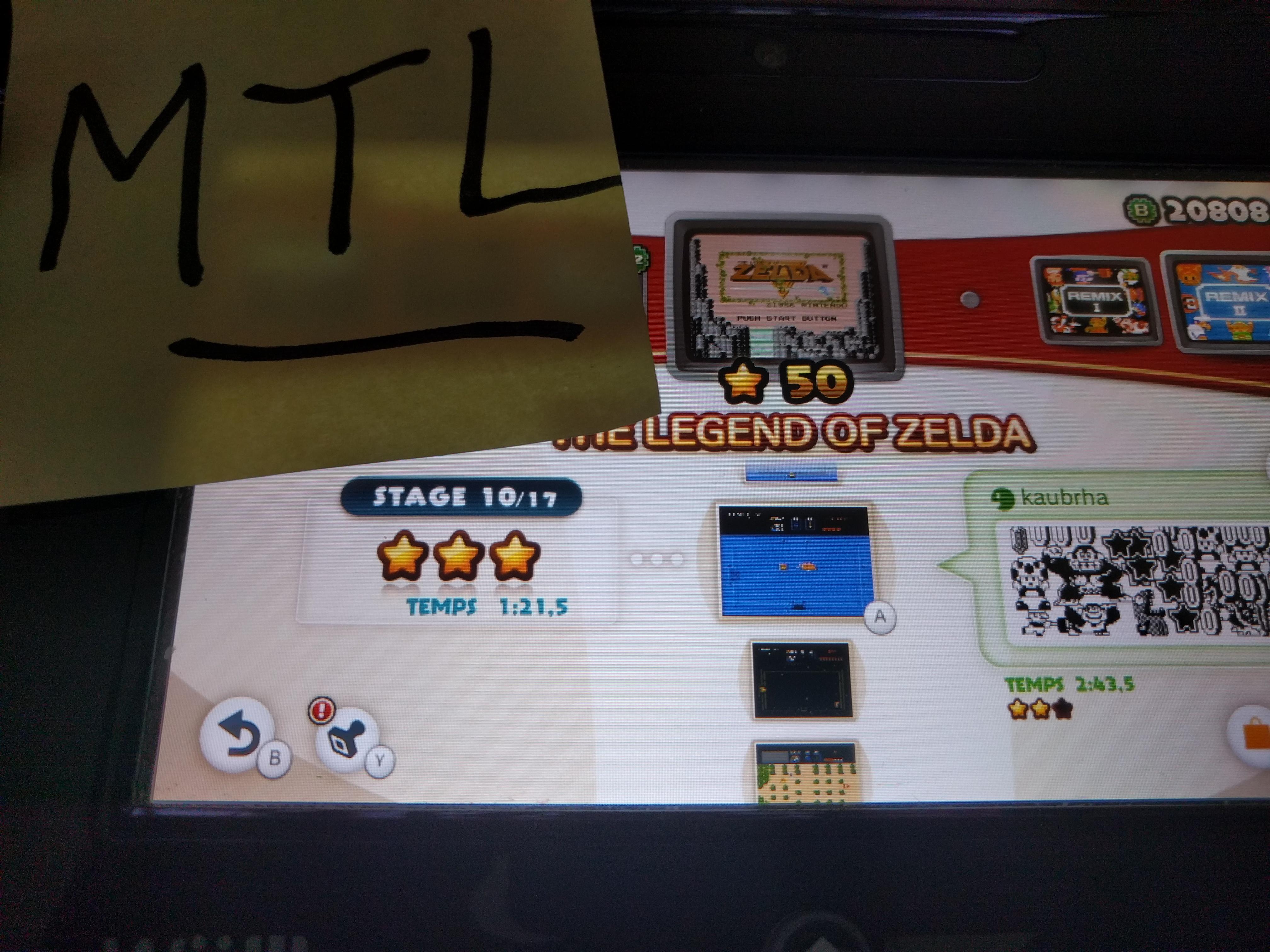Mantalow: NES Remix: The Legend of Zelda: Stage 10 (Wii U) 0:01:21.5 points on 2016-06-10 05:43:17
