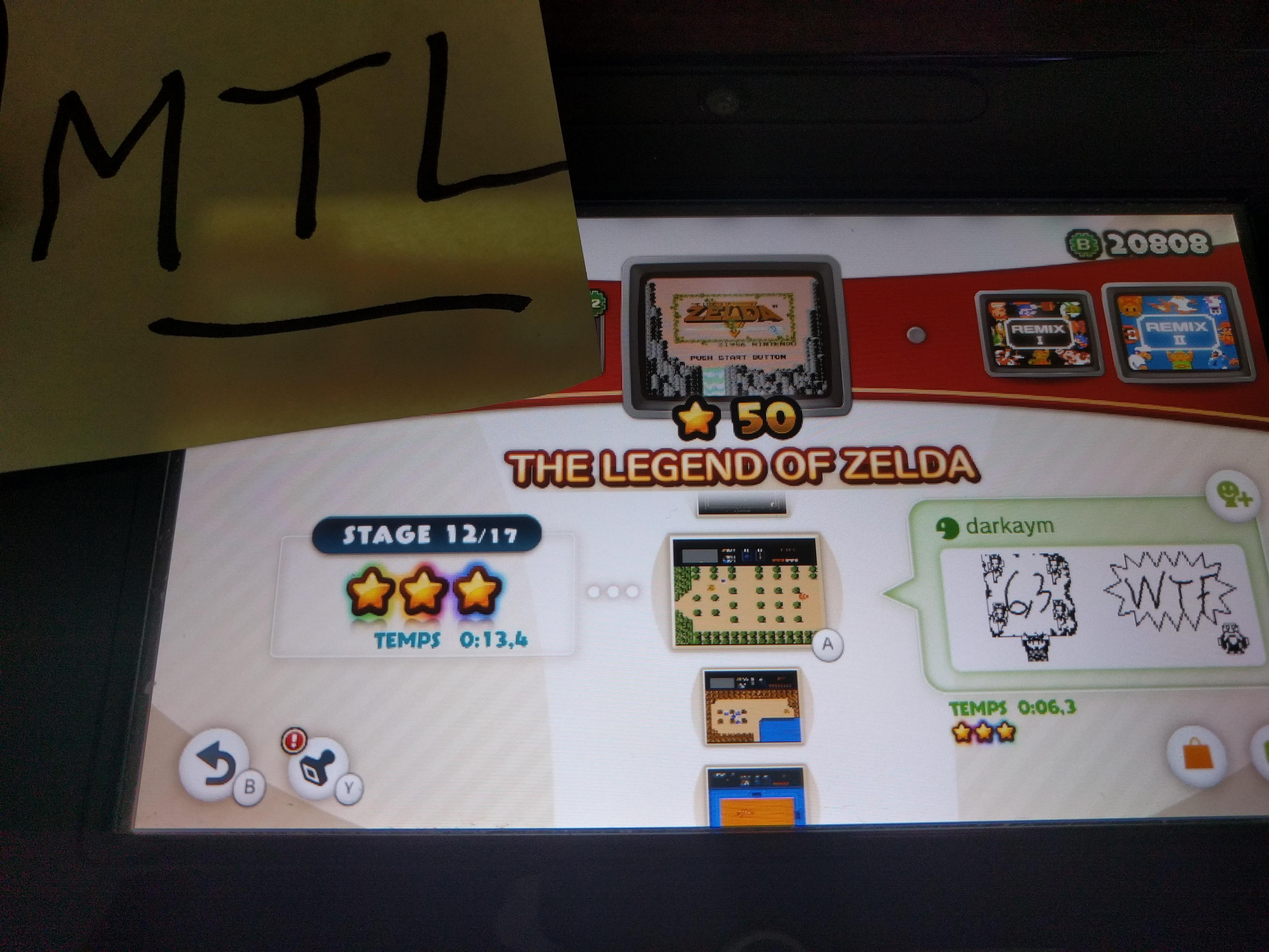 Mantalow: NES Remix: The Legend of Zelda: Stage 12 (Wii U) 0:00:13.4 points on 2016-06-10 19:11:25