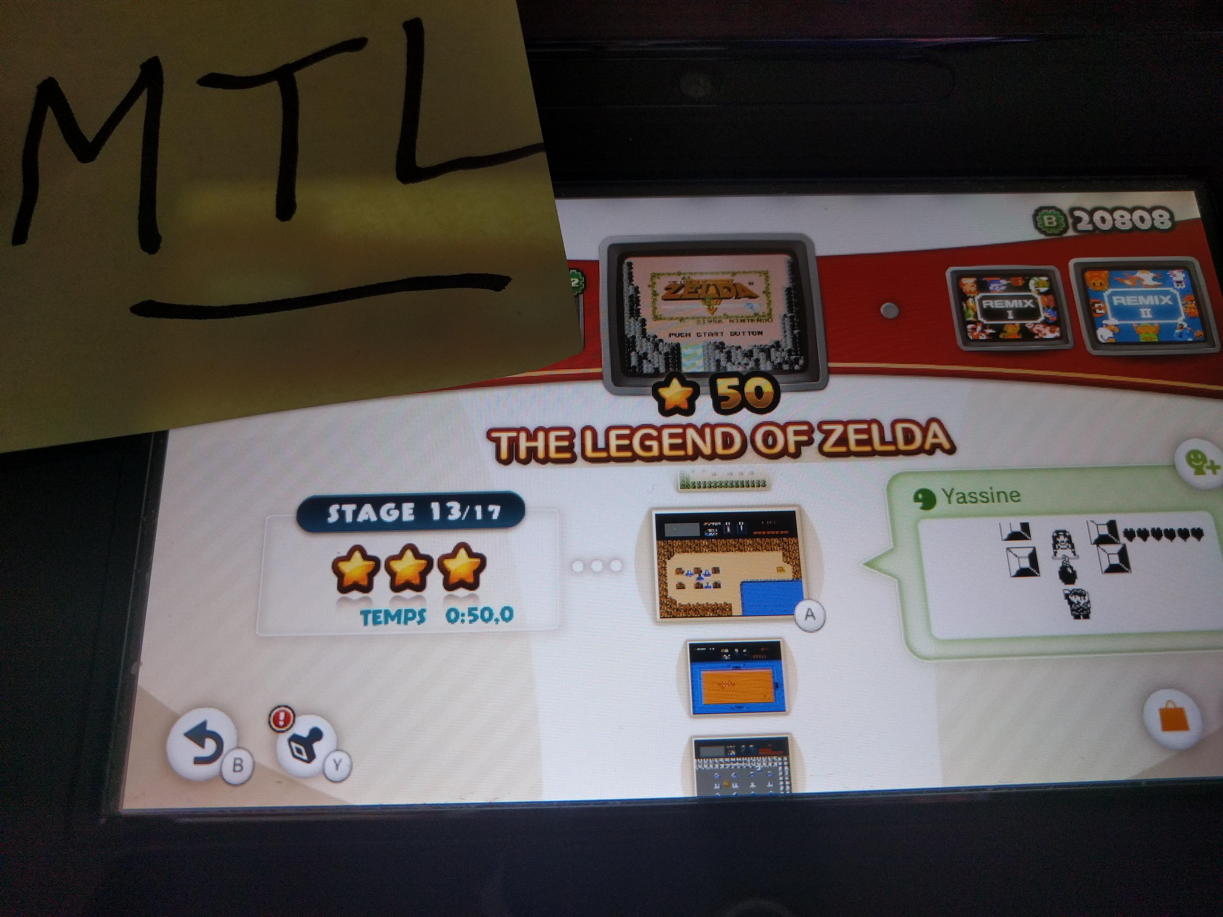 Mantalow: NES Remix: The Legend of Zelda: Stage 13 (Wii U) 0:00:50 points on 2016-06-10 19:11:53