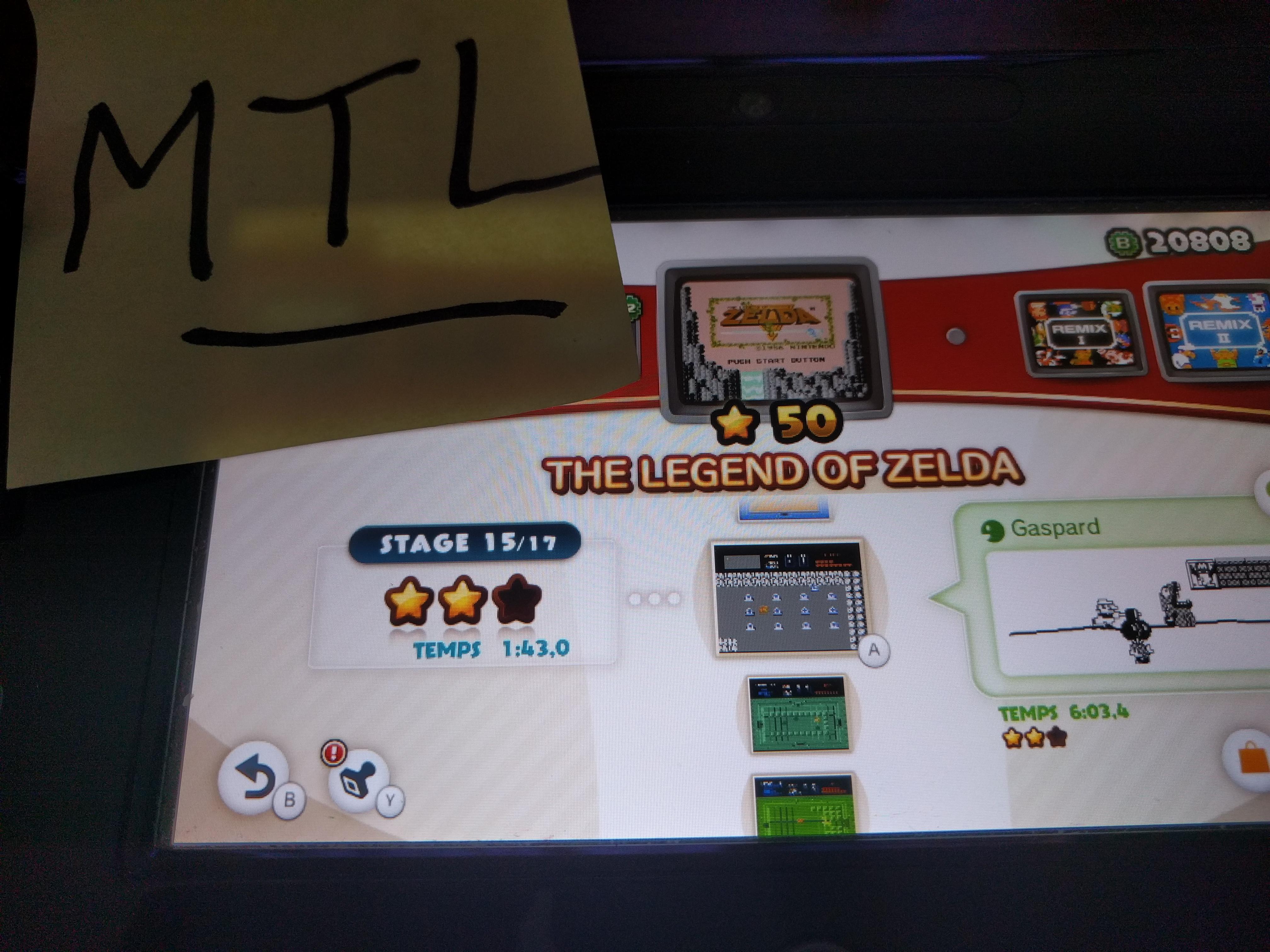 Mantalow: NES Remix: The Legend of Zelda: Stage 15 (Wii U) 0:01:43 points on 2016-06-10 19:12:49