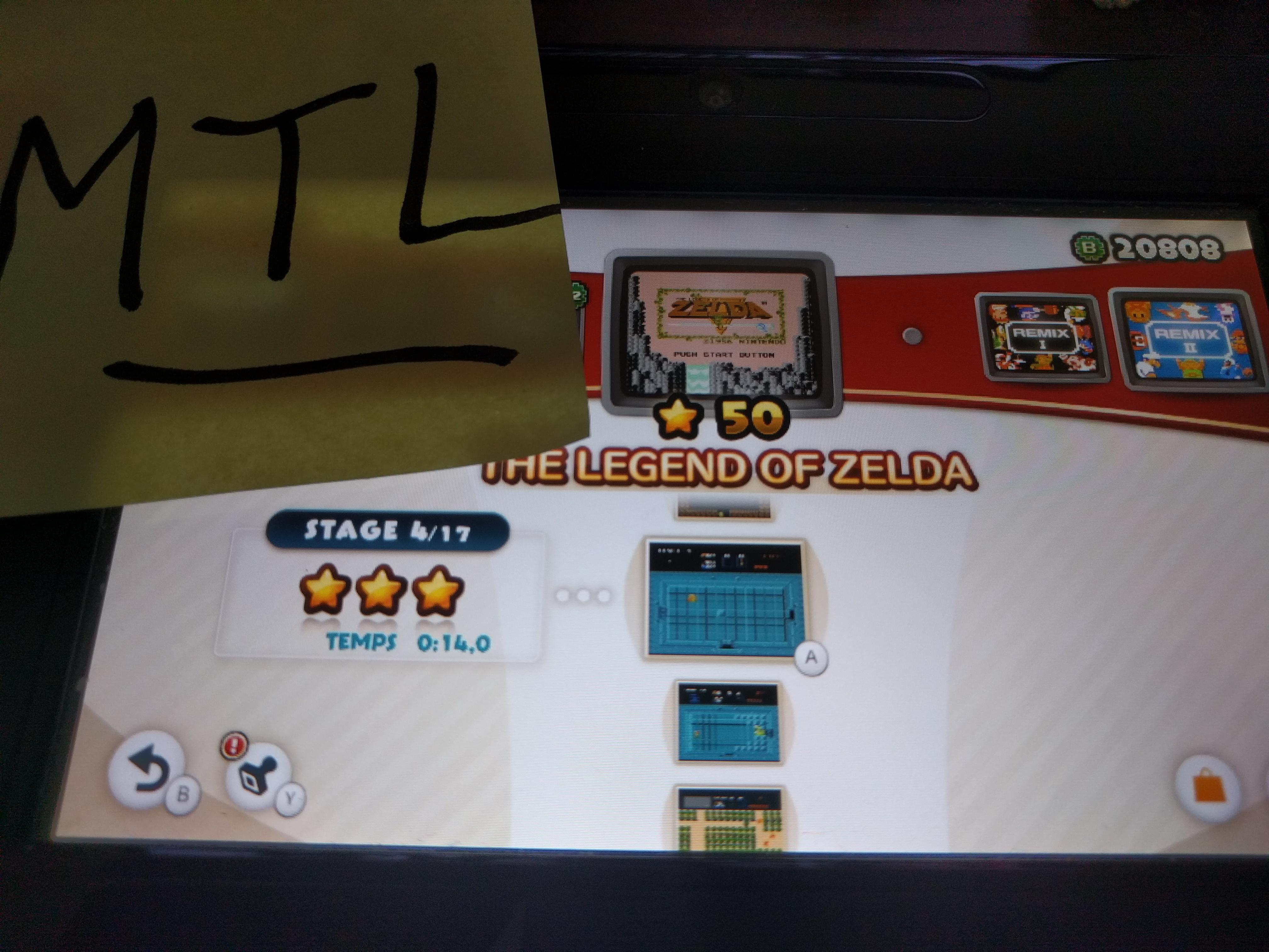 Mantalow: NES Remix: The Legend of Zelda: Stage 4 (Wii U) 0:00:14 points on 2016-06-11 03:03:25