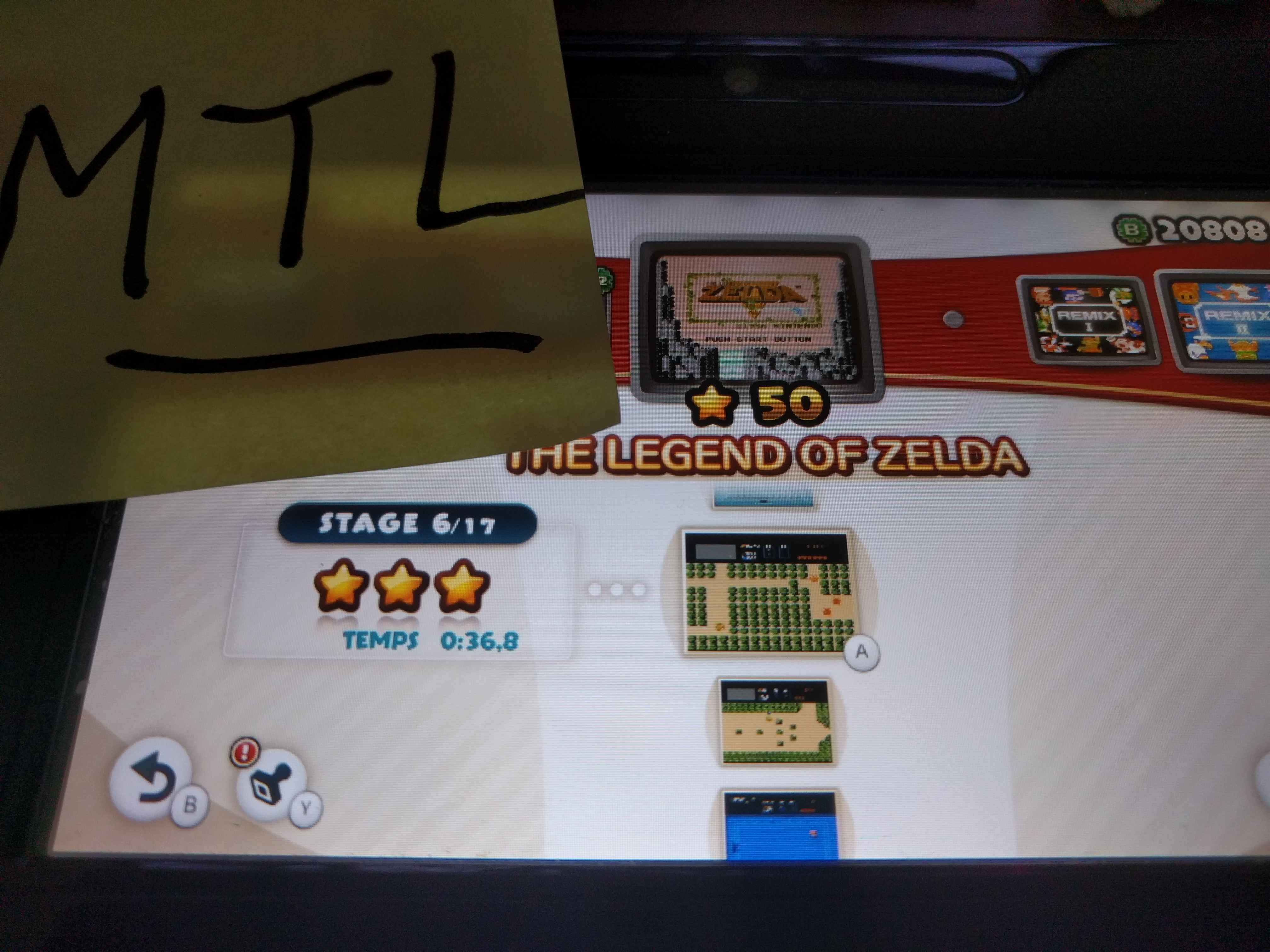 Mantalow: NES Remix: The Legend of Zelda: Stage 6 (Wii U) 0:00:36.8 points on 2016-06-11 03:04:22