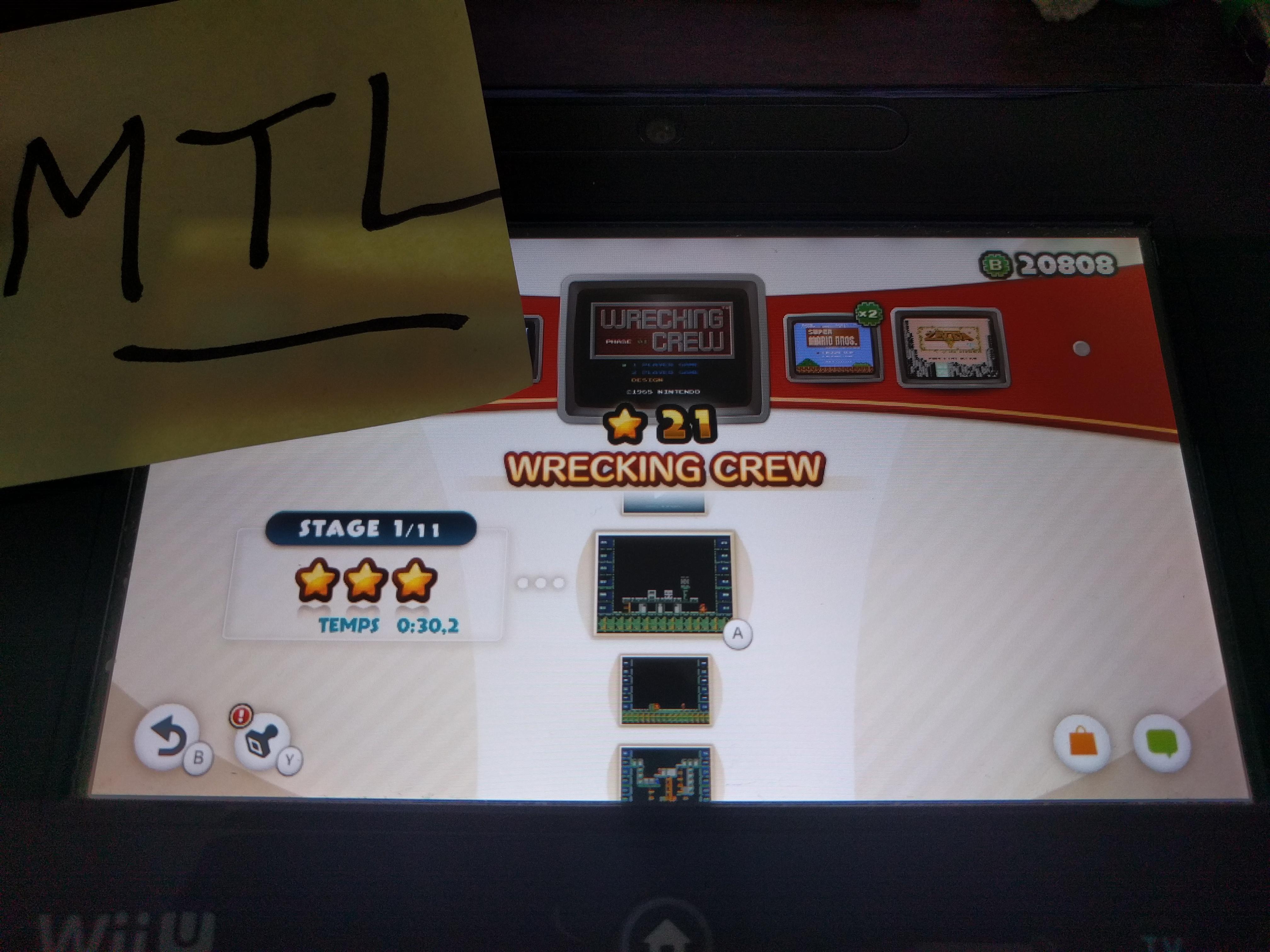 Mantalow: NES Remix: Wrecking Crew: Stage 1 (Wii U) 0:00:30.2 points on 2016-06-11 03:07:12