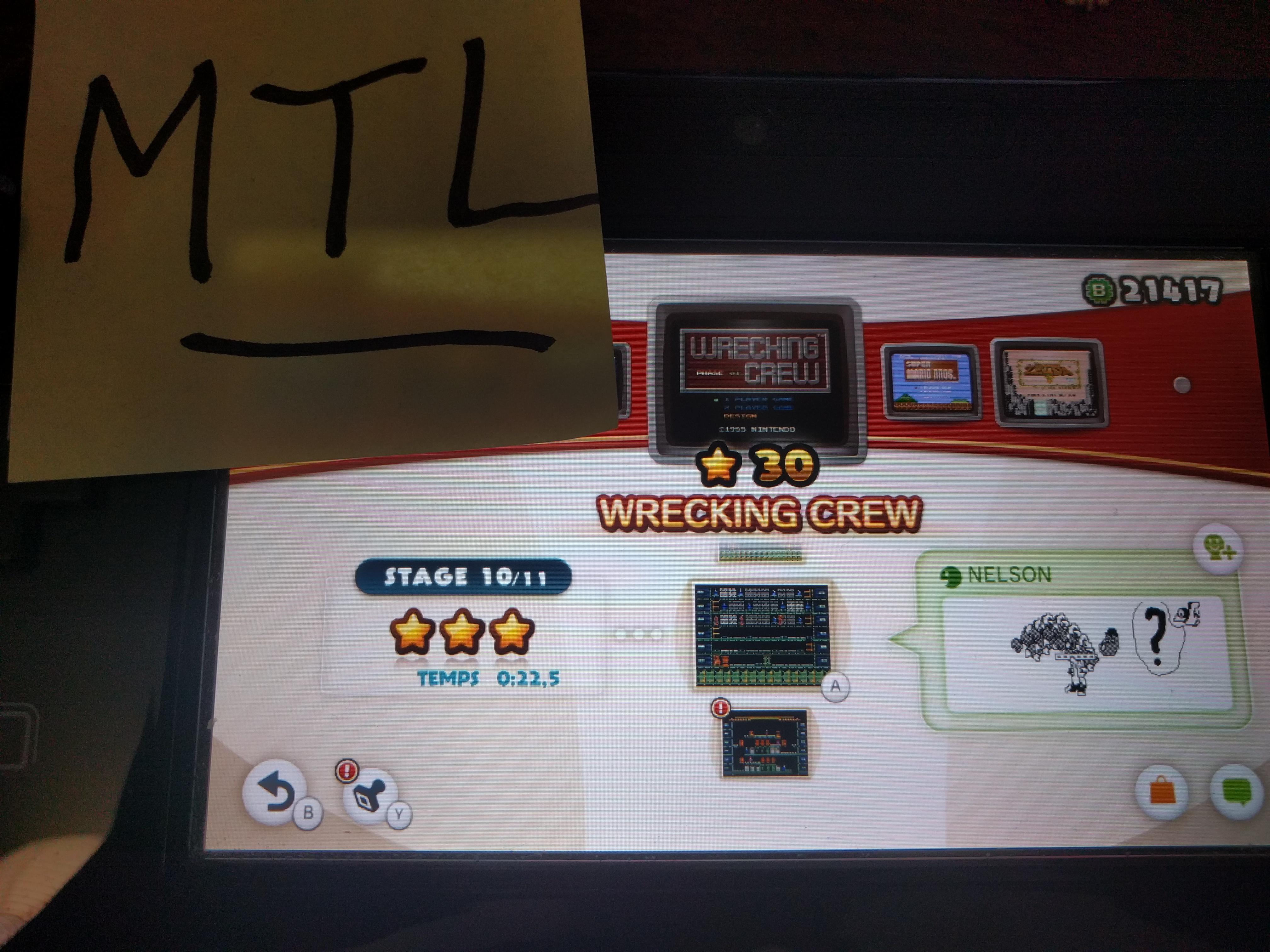 Mantalow: NES Remix: Wrecking Crew: Stage 10 (Wii U) 0:00:22.5 points on 2016-06-15 11:19:04