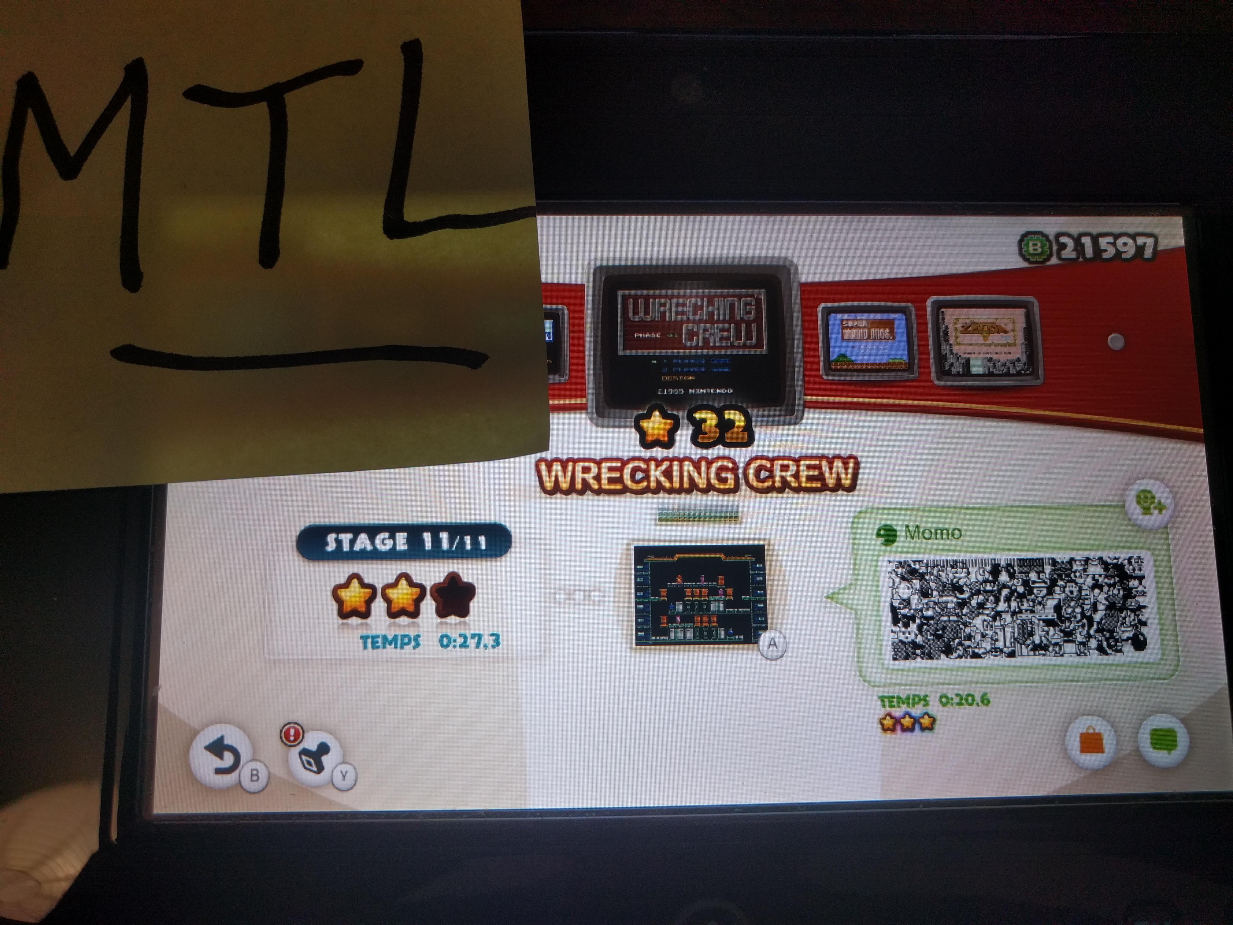 Mantalow: NES Remix: Wrecking Crew: Stage 11 (Wii U) 0:00:27.3 points on 2016-06-15 11:19:43