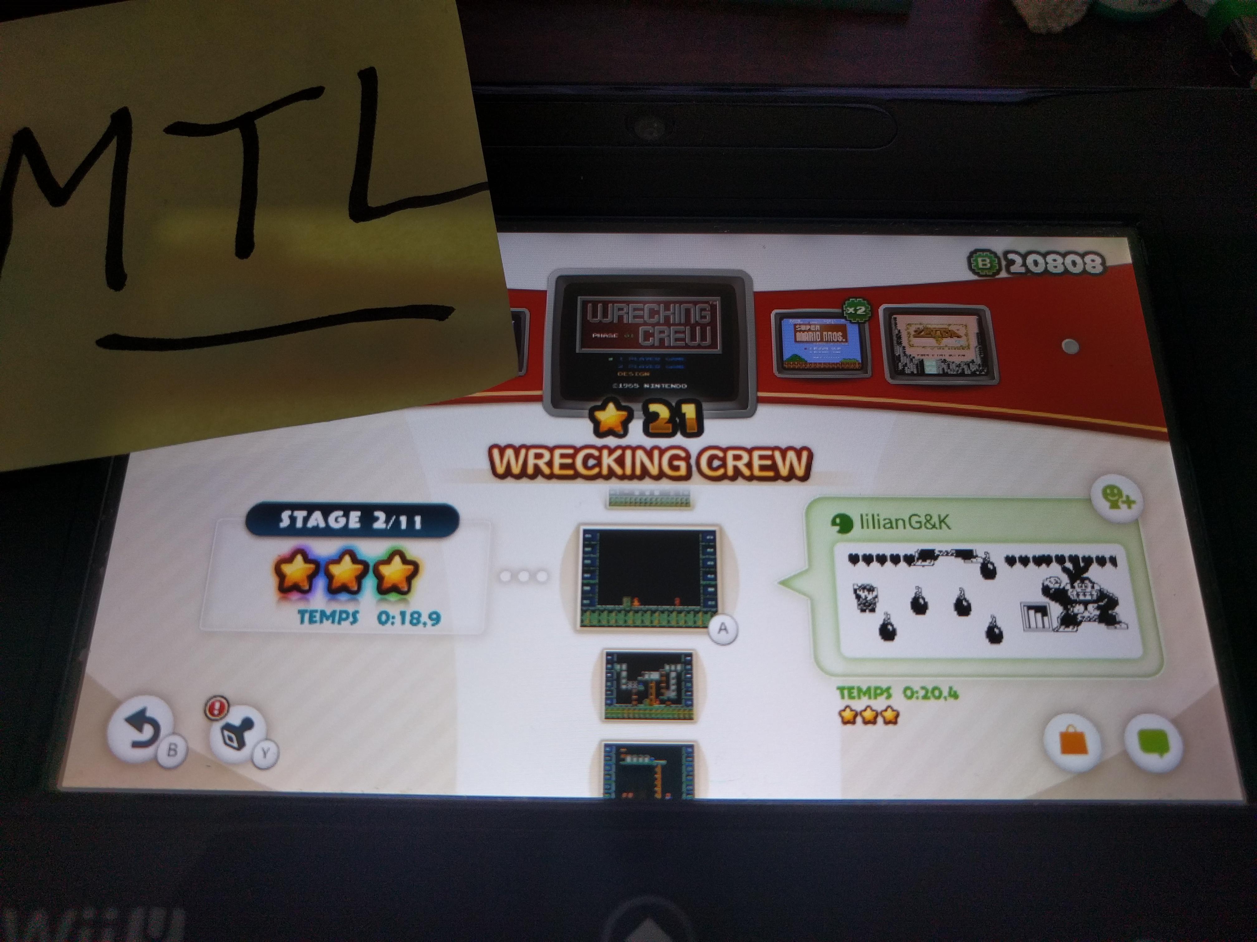 Mantalow: NES Remix: Wrecking Crew: Stage 2 (Wii U) 0:00:18.9 points on 2016-06-11 03:07:50
