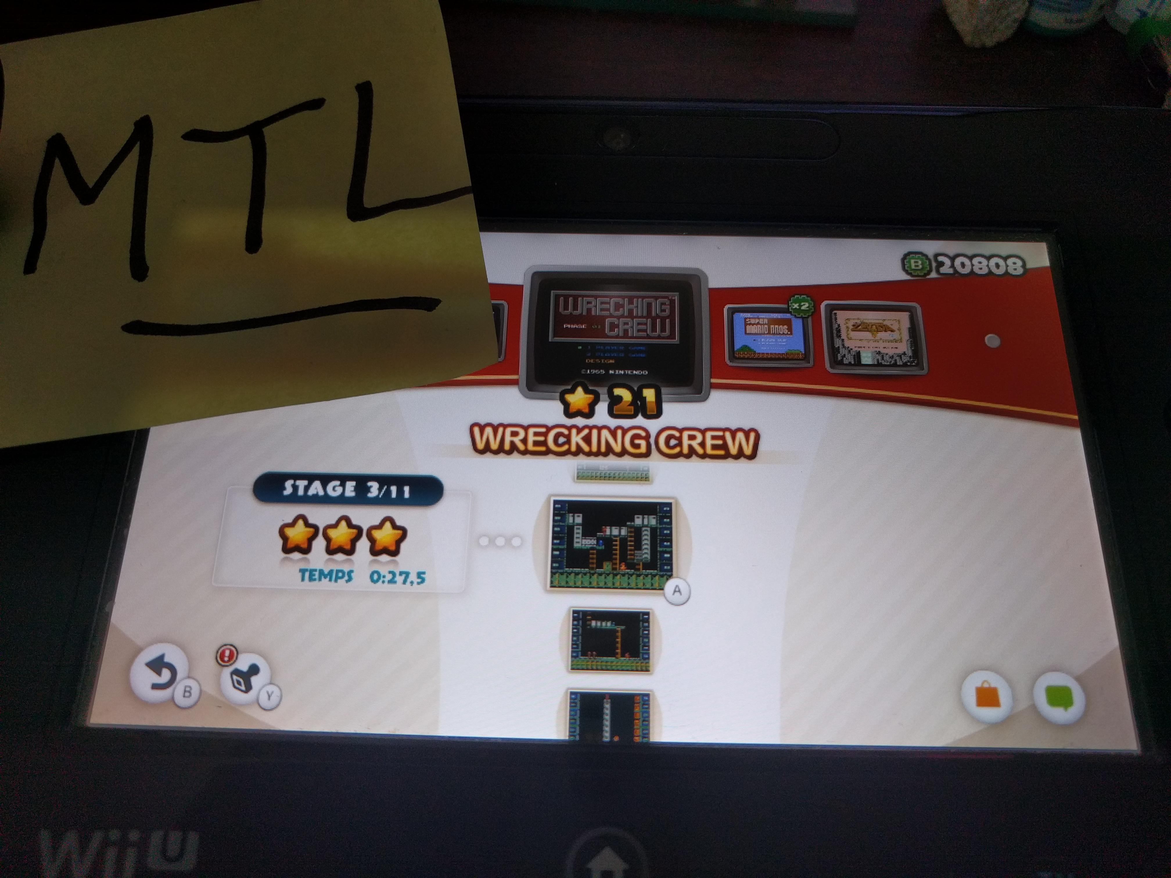 Mantalow: NES Remix: Wrecking Crew: Stage 3 (Wii U) 0:00:27.5 points on 2016-06-11 03:08:21