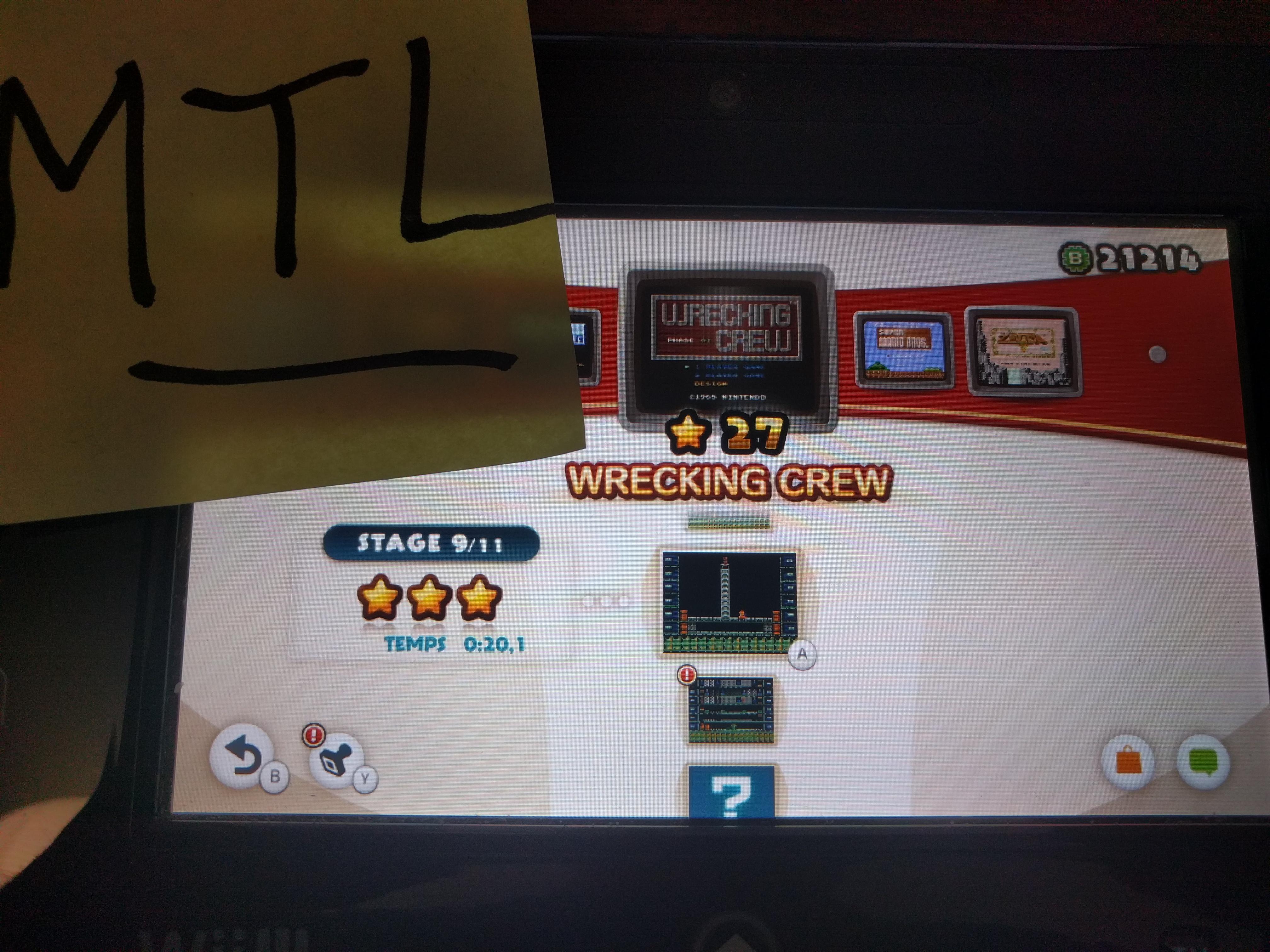 Mantalow: NES Remix: Wrecking Crew: Stage 9 (Wii U) 0:00:20.1 points on 2016-06-15 11:18:17