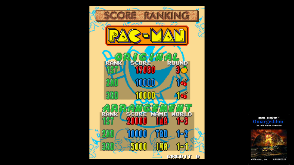 omargeddon: Namco Classic Collection Vol. 2: Pac-Man [ncv2] (Arcade Emulated / M.A.M.E.) 17,080 points on 2017-11-03 00:58:24