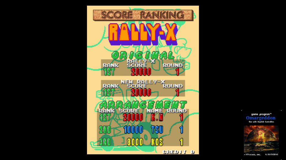 omargeddon: Namco Classic Collection Vol. 2: Rally-X [ncv2] (Arcade Emulated / M.A.M.E.) 20,000 points on 2017-11-03 01:00:11